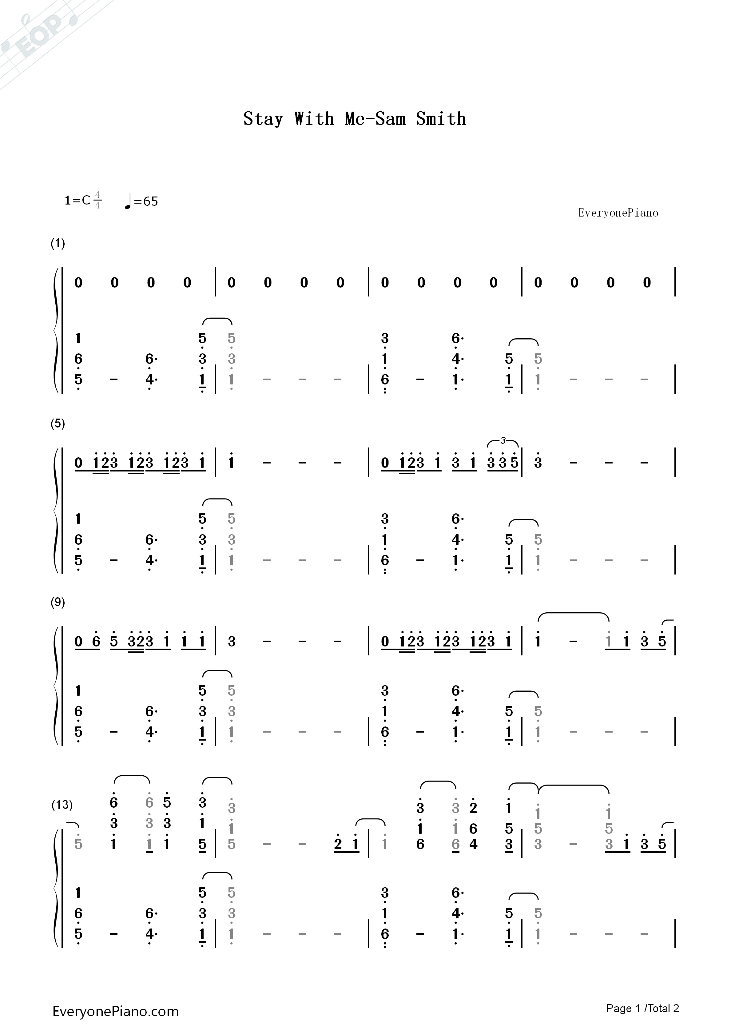 Stay with me sam smith numbered musical notation preview 1 free listen now print sheet stay with me sam smith numbered musical notation preview 1 hexwebz Images