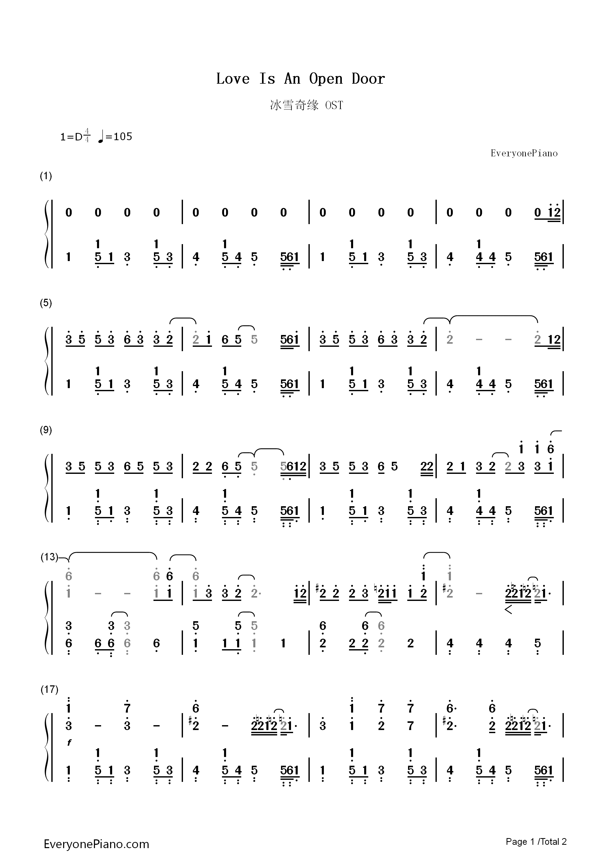 Love Is An Open Door Frozen OST Numbered Musical Notation Preview