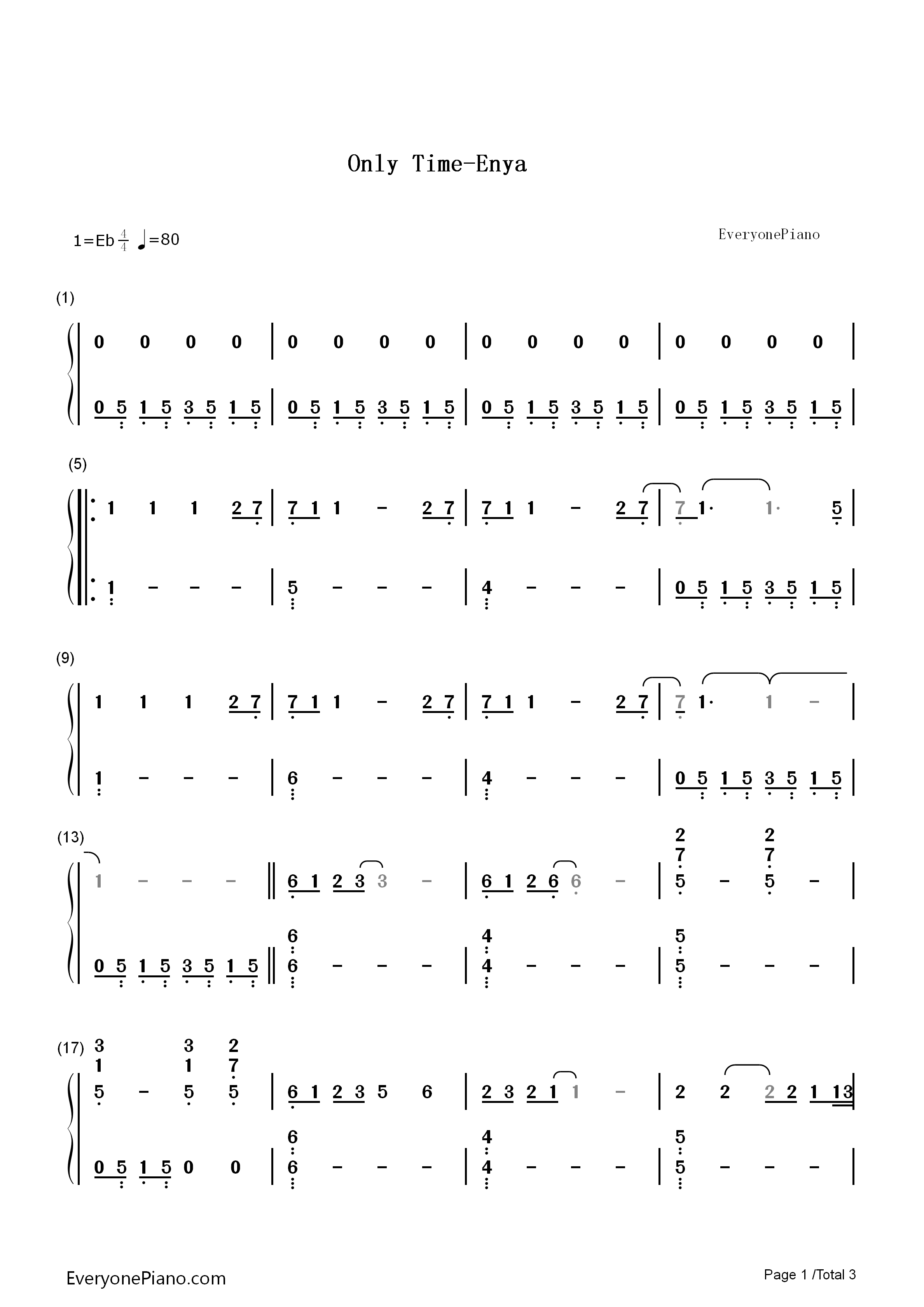 Only Time Enya Numbered Musical Notation Preview Eop Online