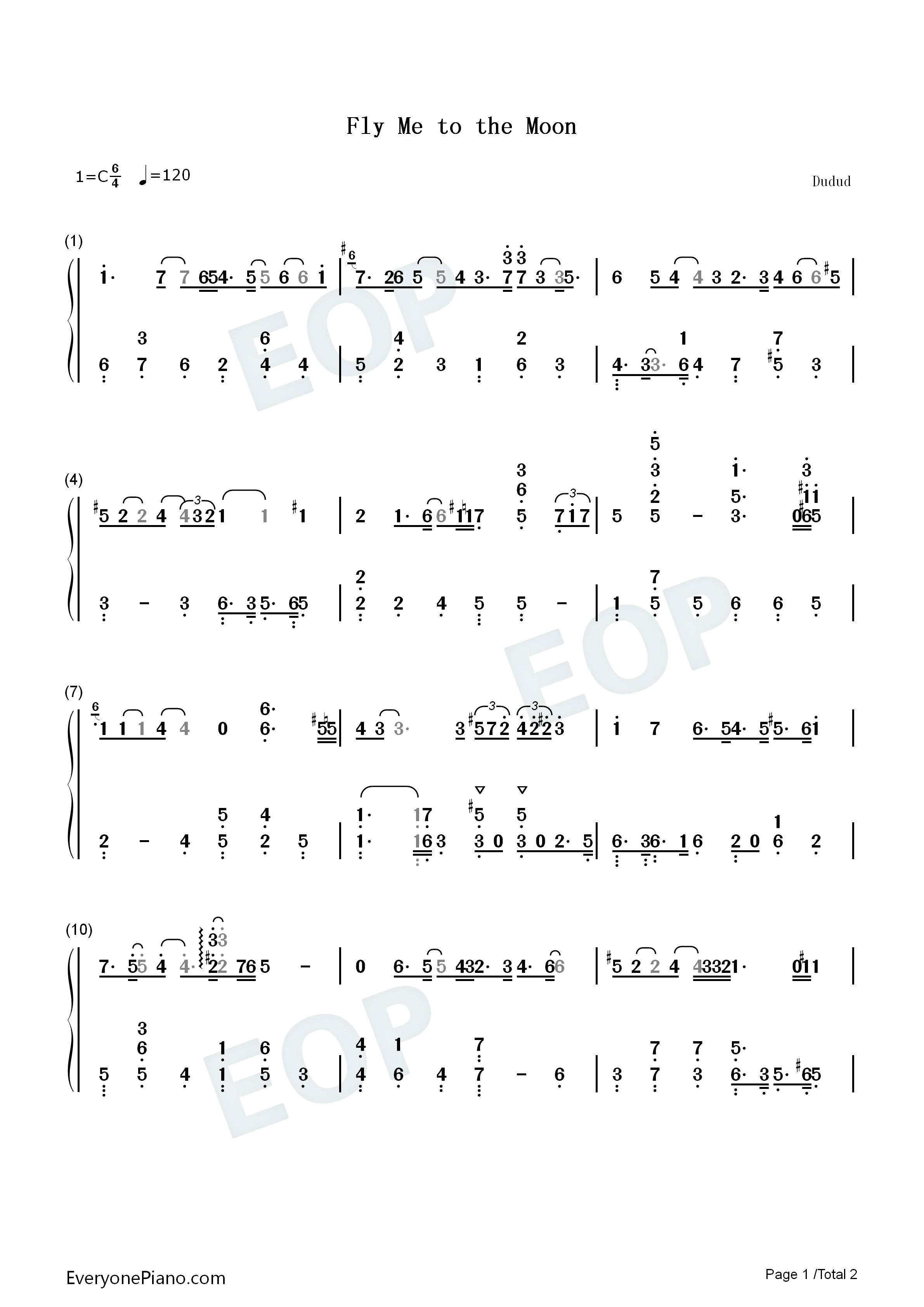 Fly me to the moon bart howard numbered musical notation preview 1 listen now print sheet fly me to the moon bart howard numbered musical notation preview 1 hexwebz Choice Image