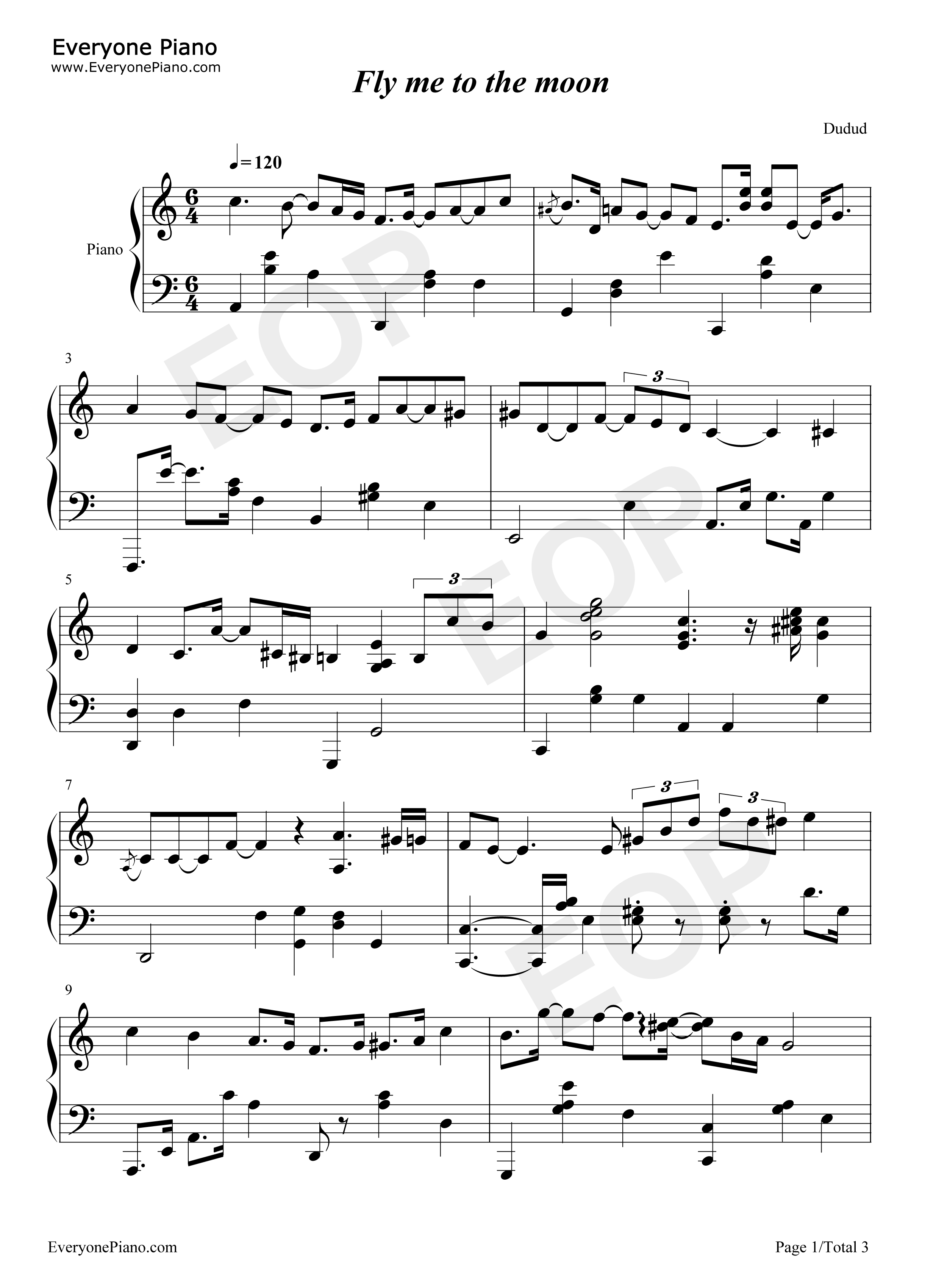 Fly me to the moon bart howard stave preview 1 free piano sheet listen now print sheet fly me to the moon bart howard stave preview 1 hexwebz Choice Image