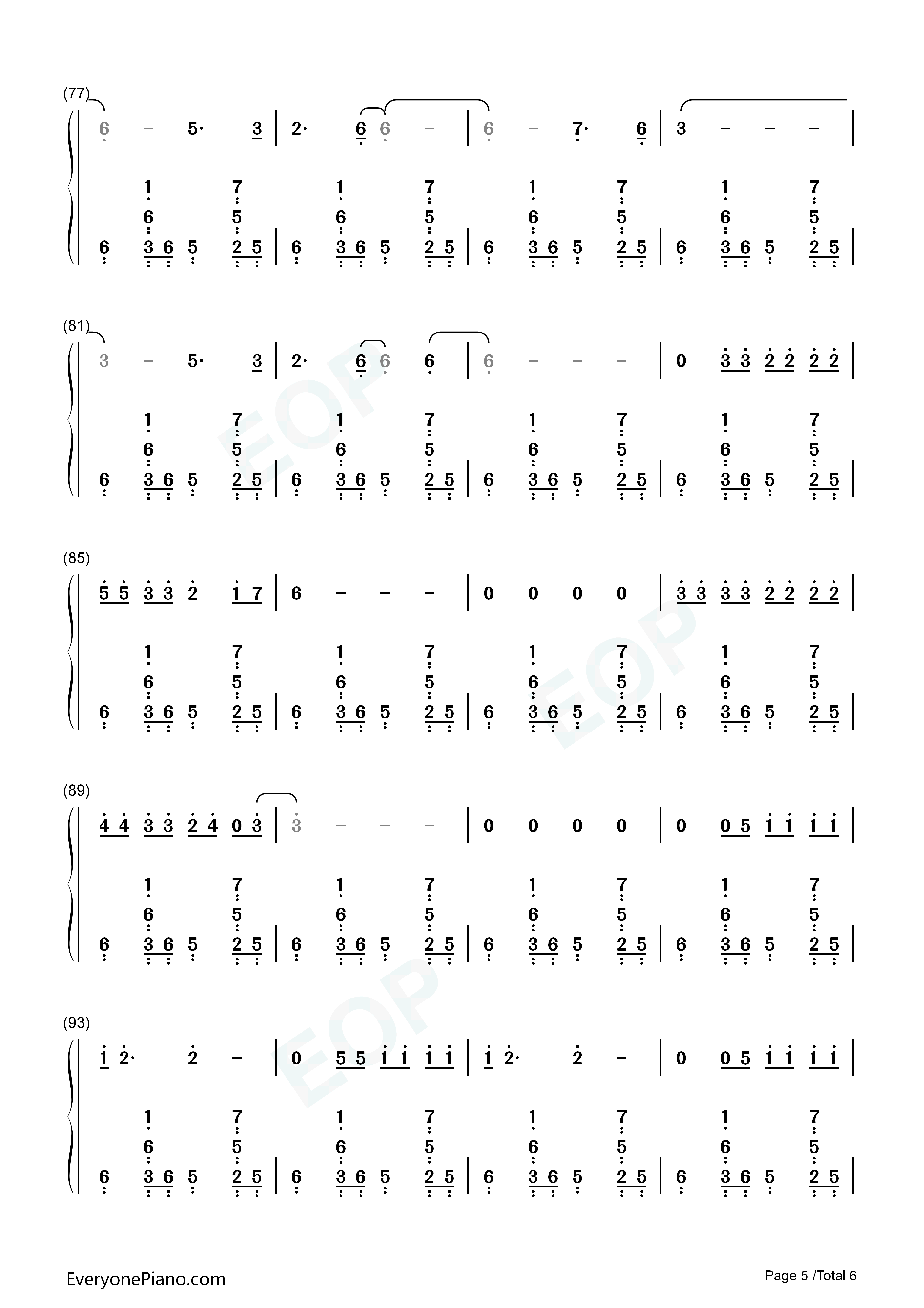 Somebody That I Used to Know-Gotye u0026 Kimbra Numbered Musical Notation Preview 5-Free Piano Sheet ...