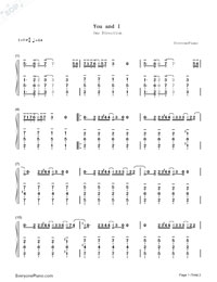 You and I-One Direction-Numbered-Musical-Notation-Preview-1