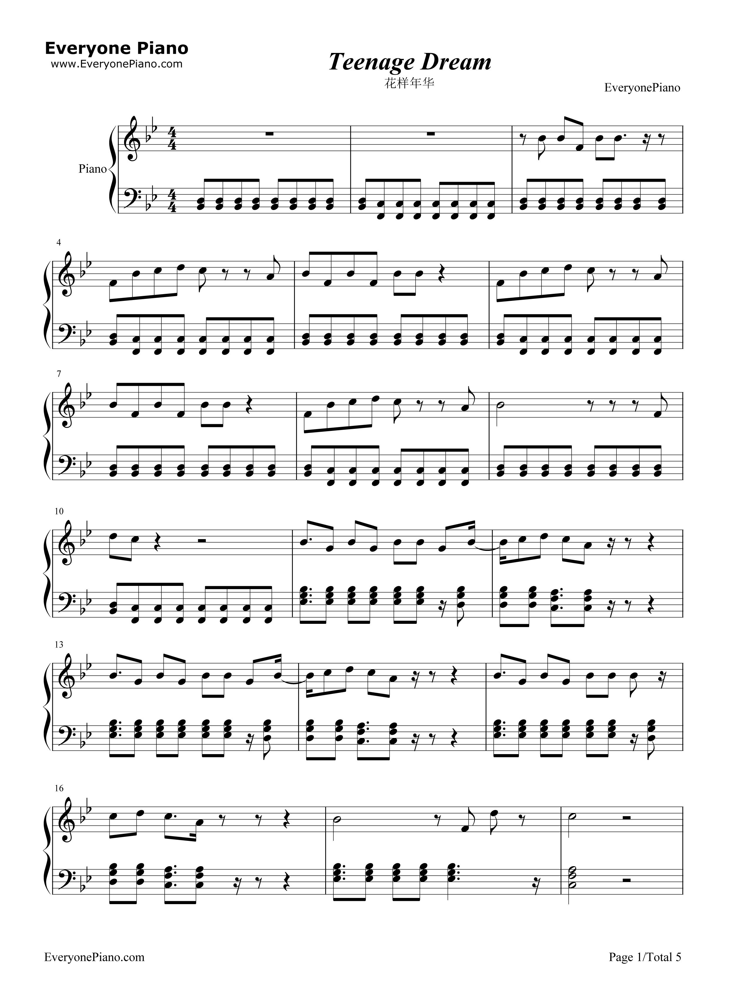 Katy Perry Teenage Dream Guitar Chords