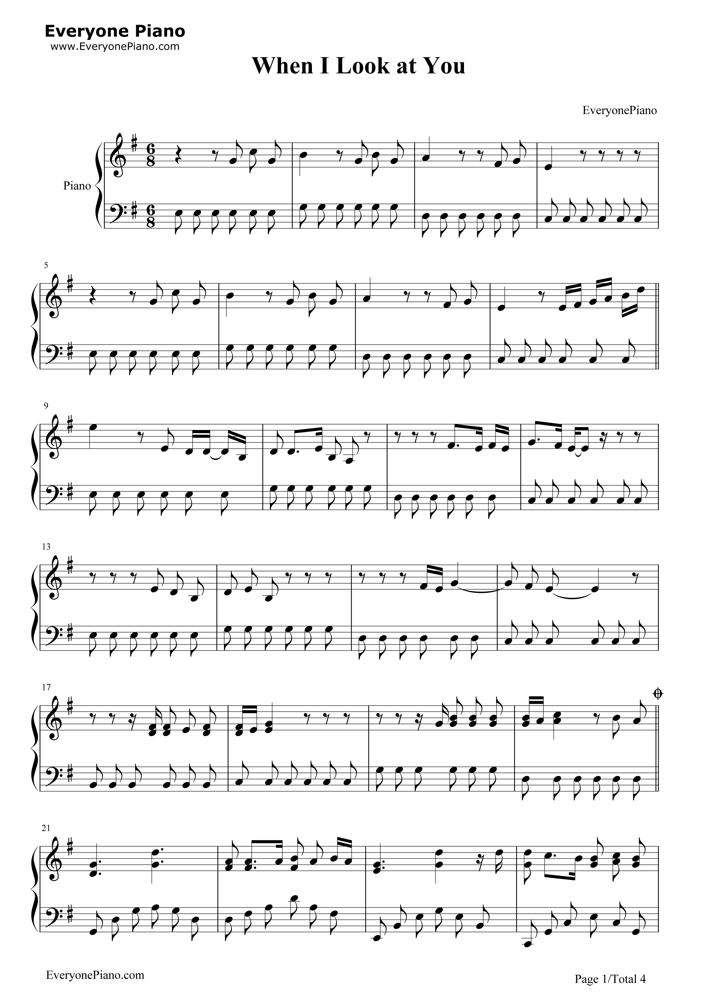 When i look at you the last song theme stave preview 1 free piano listen now print sheet when i look at you the last song theme stave preview 1 hexwebz Images