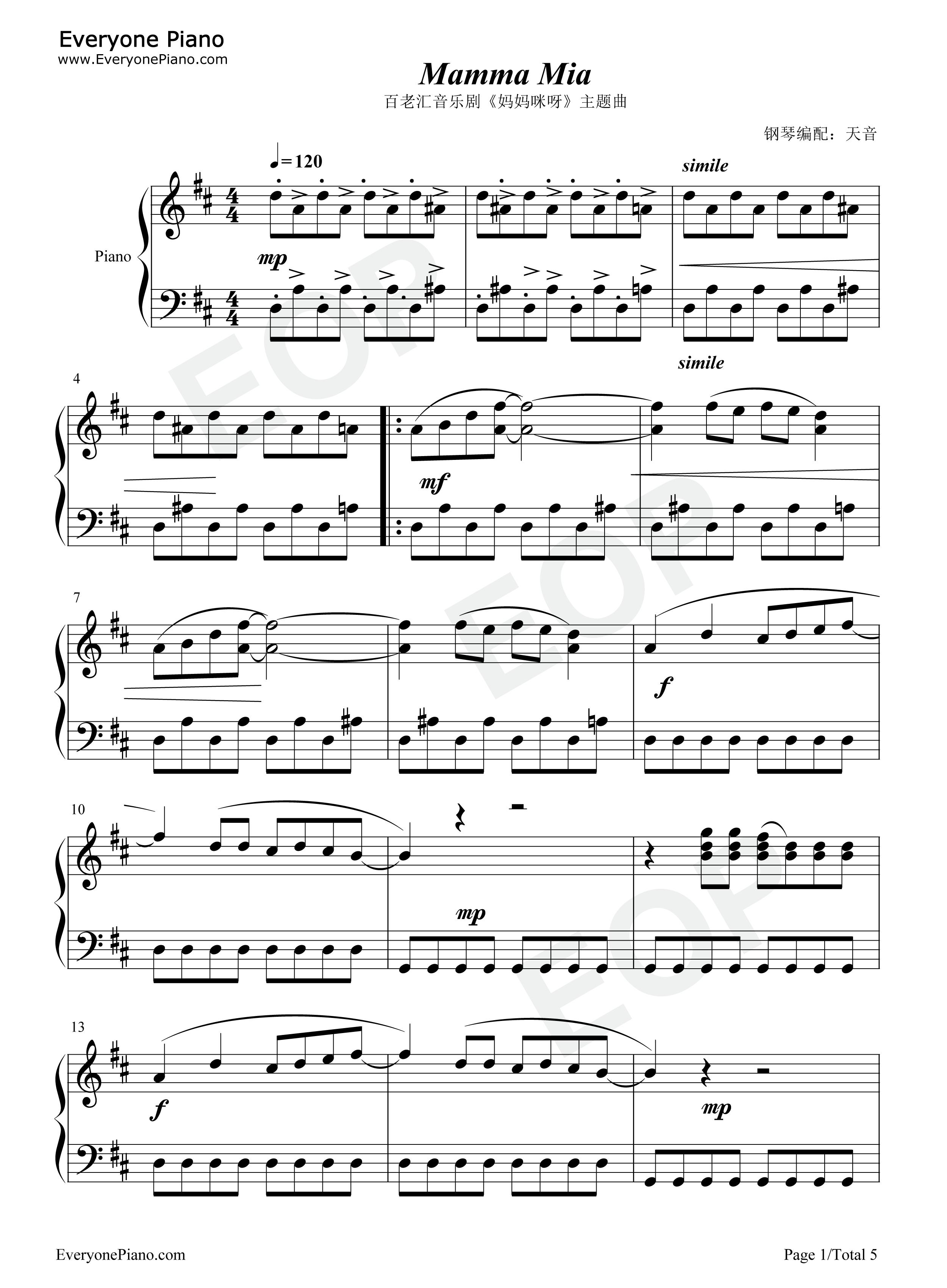 Mamma Mia-ABBA Stave Preview 1-Free Piano Sheet Music & Piano Chords