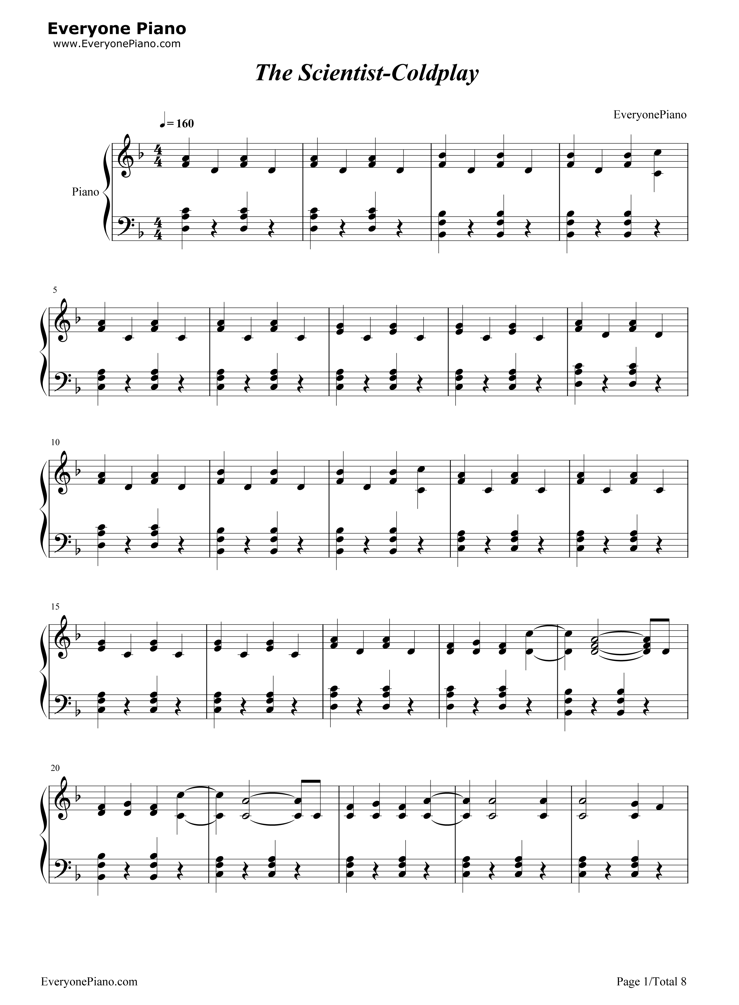 Piano tabs the scientist music sheets chords tablature and the scientist coldplay stave preview 1 free piano sheet music u0026 piano chords baditri Gallery