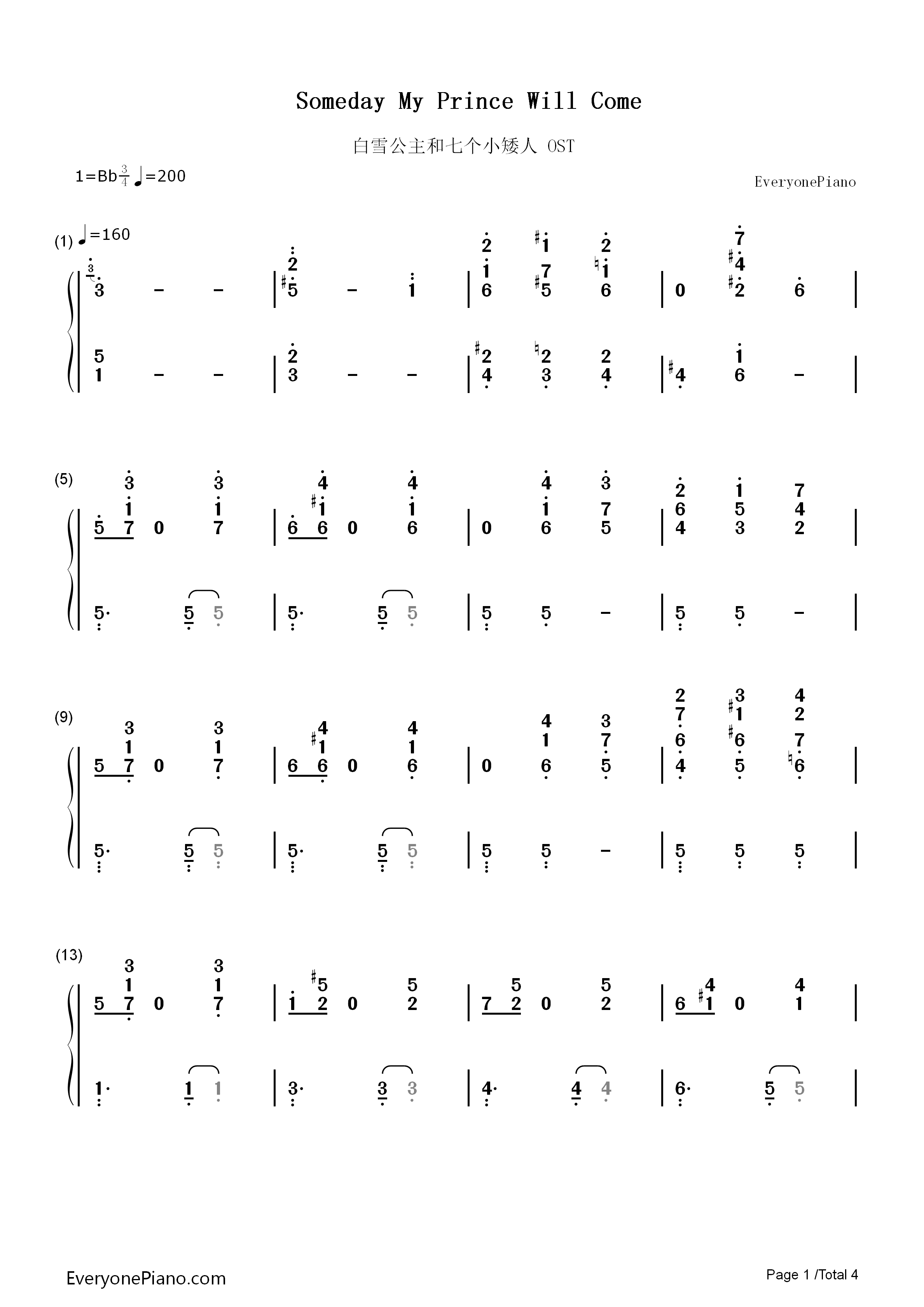 Someday my prince will come numbered musical notation preview 1 listen now print sheet someday my prince will come numbered musical notation preview 1 hexwebz Choice Image