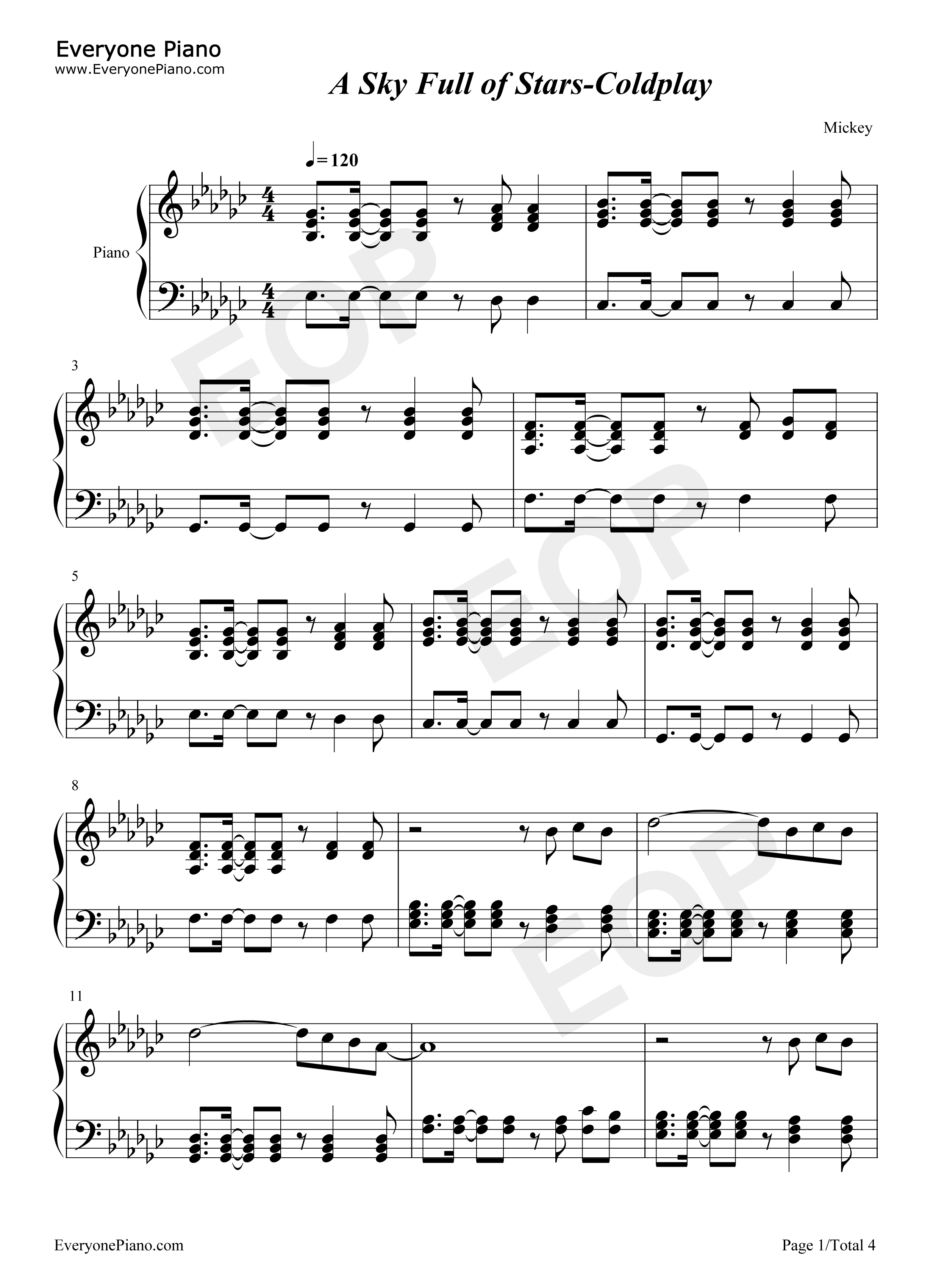 A sky full of stars coldplay stave preview 1 free piano sheet listen now print sheet a sky full of stars coldplay stave preview 1 hexwebz Gallery