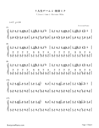 ↑Jinsei Game↓-Hatsune Miku-Numbered-Musical-Notation-Preview-1