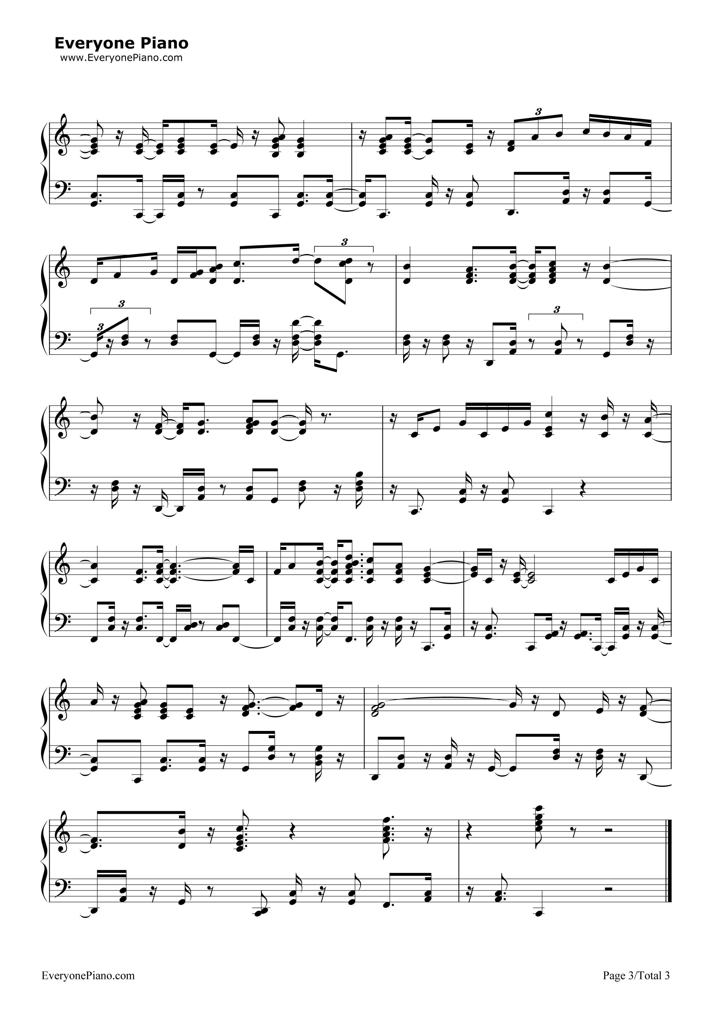 Que Sera Sera (Whatever Will Be Will Be) Stave Preview 3-Free Piano Sheet Music u0026 Piano Chords