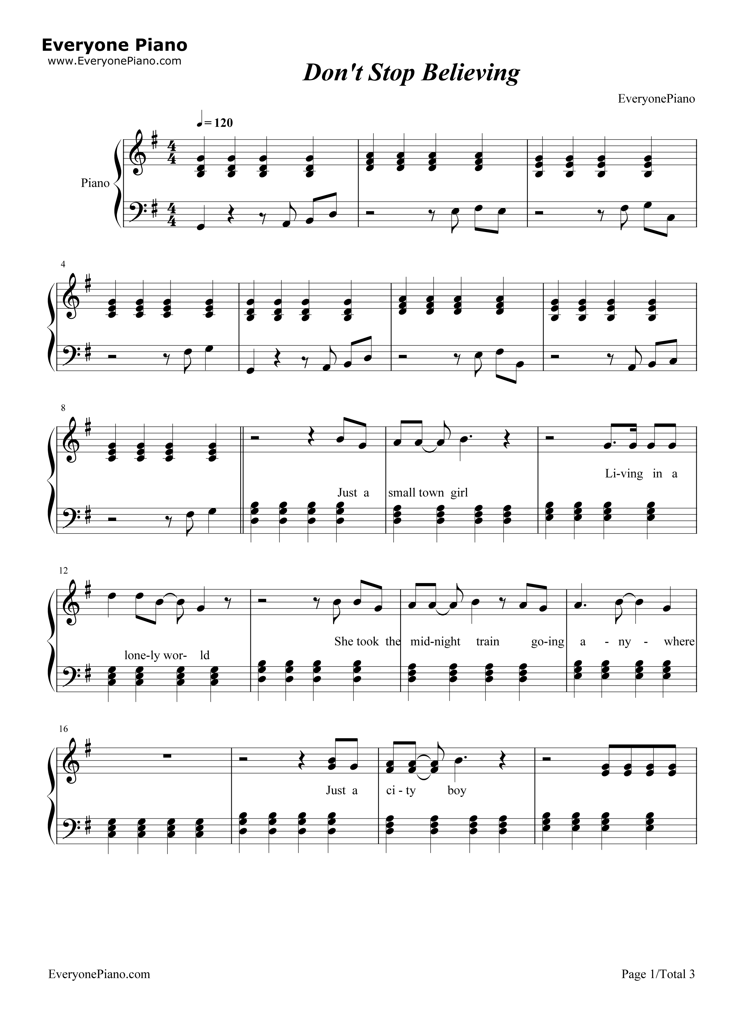 Dont Stop Believing Song Guitar Chords Piano Piano Tabs Dont