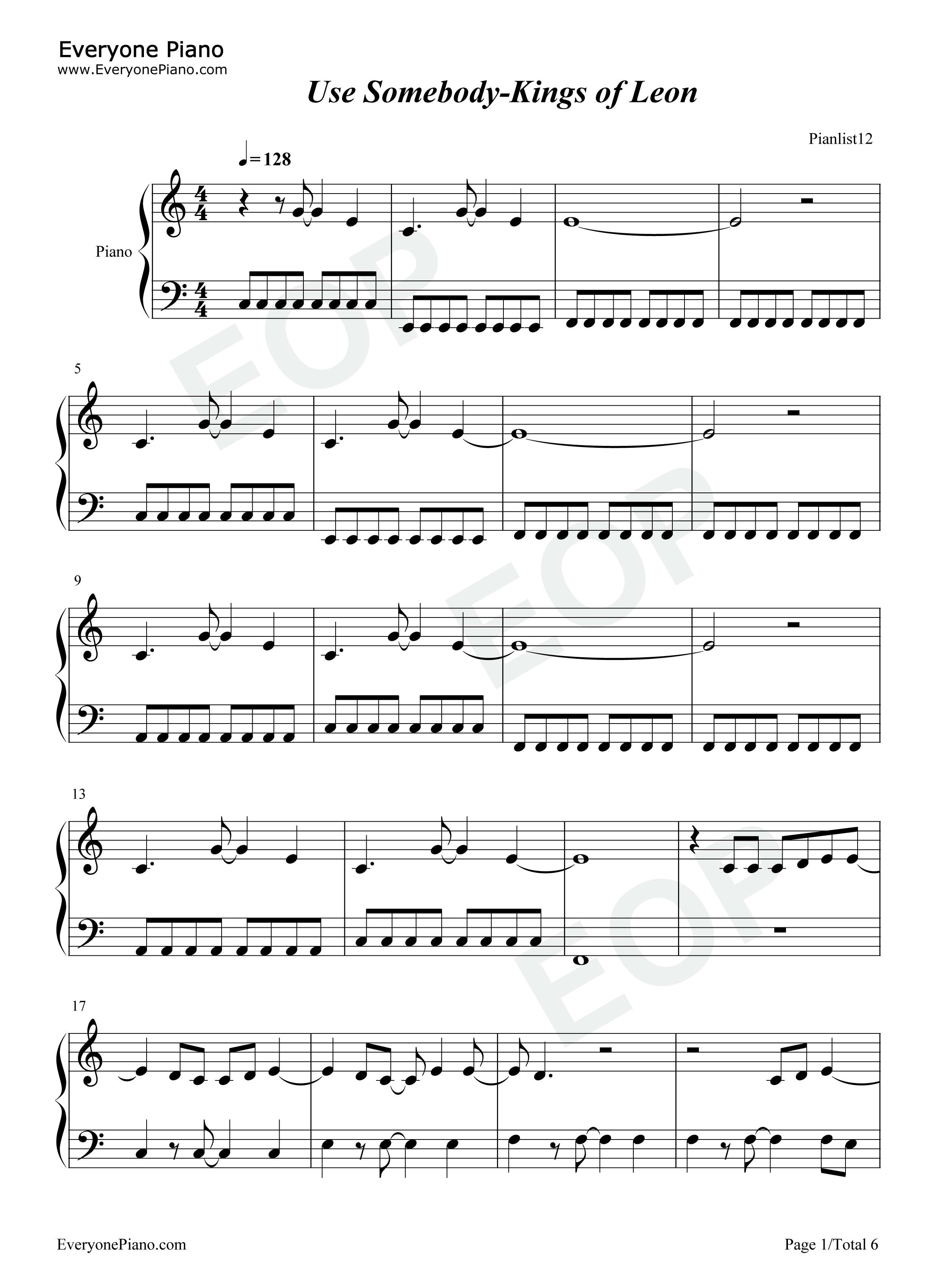 Use Somebody-Kings of Leon Stave Preview 1-Free Piano Sheet Music u0026 Piano Chords