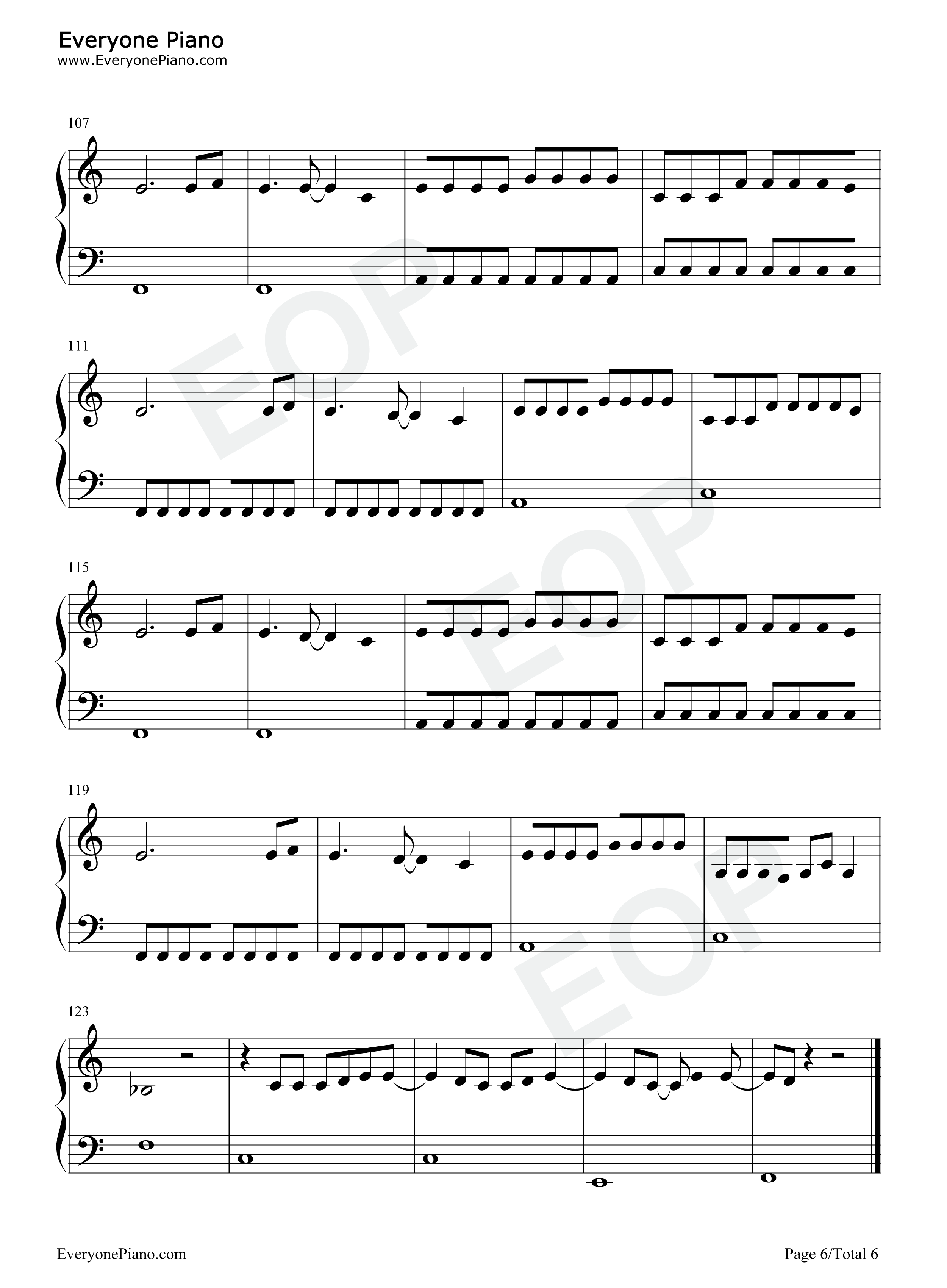 Use Somebody-Kings of Leon Stave Preview 6-Free Piano Sheet Music u0026 Piano Chords