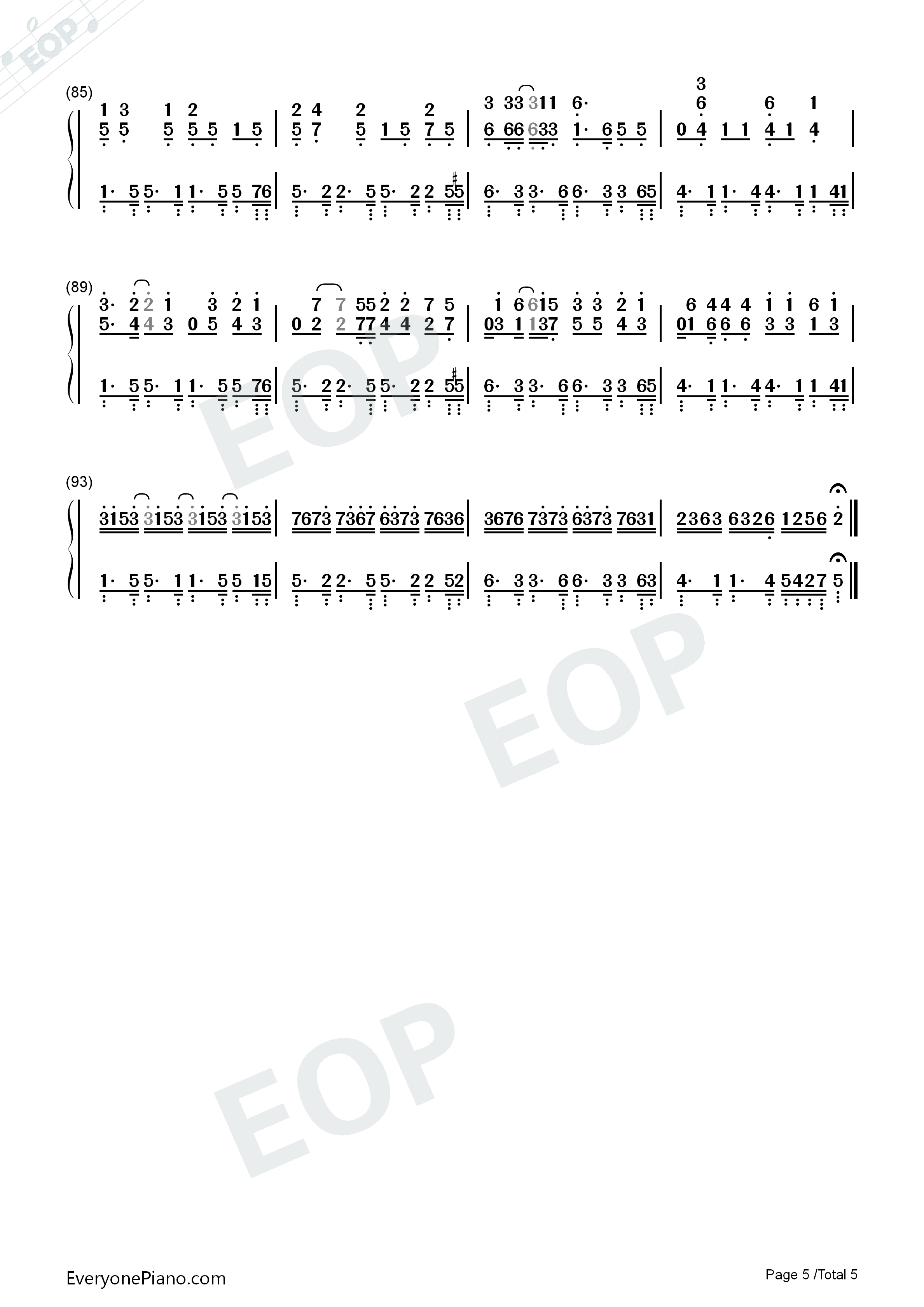 Waka Waka-Shakira Numbered Musical Notation Preview 5
