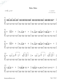 Waka Waka-Shakira Numbered Musical Notation Preview 1