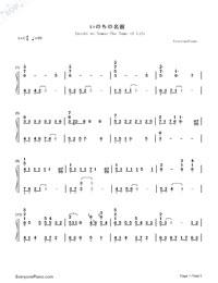いのちの名前-千と千尋の神隠しテーマソング両手略譜プレビュー1