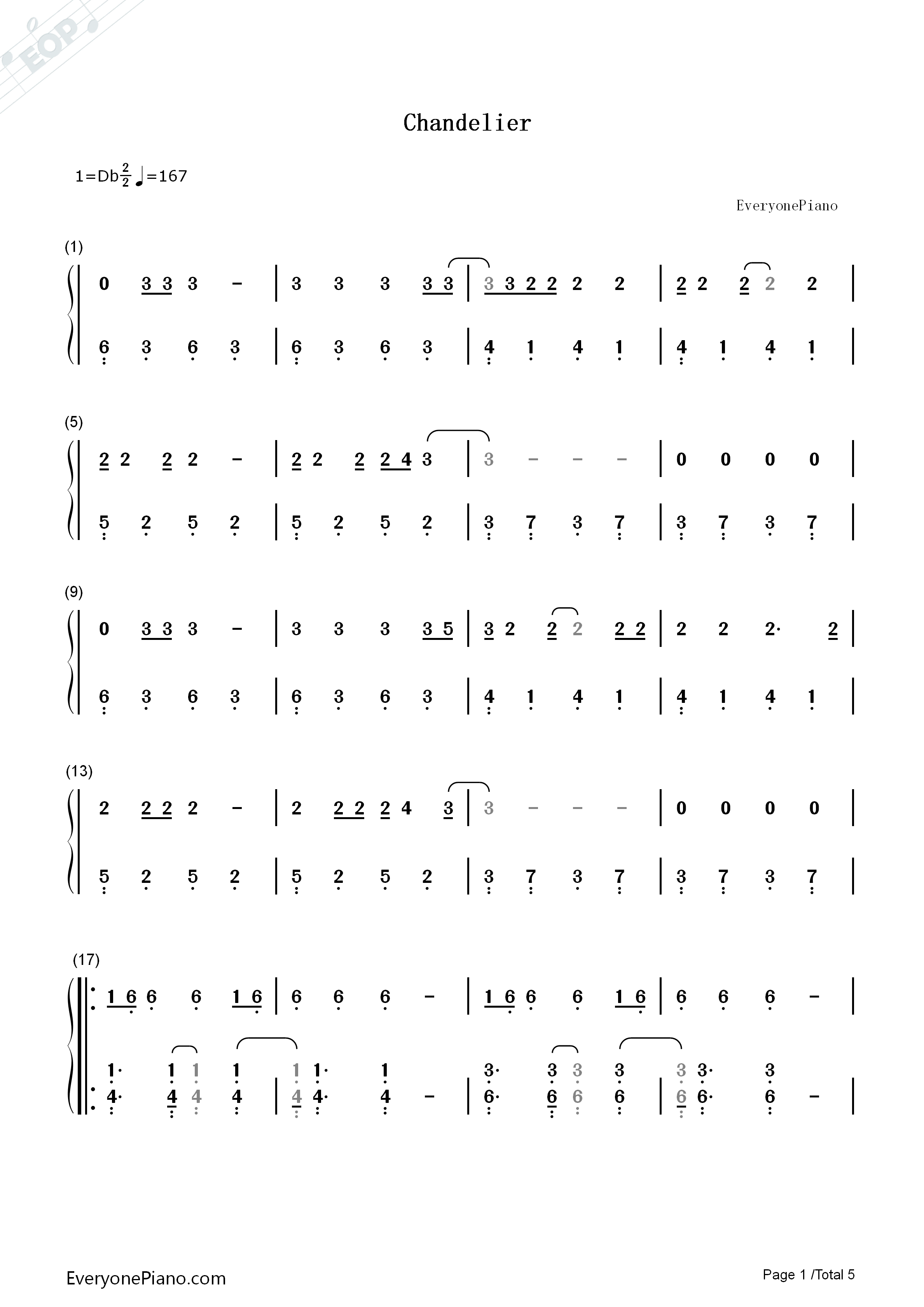 Chandelier-Sia Numbered Musical Notation Preview 1-Free Piano Sheet Music u0026 Piano Chords