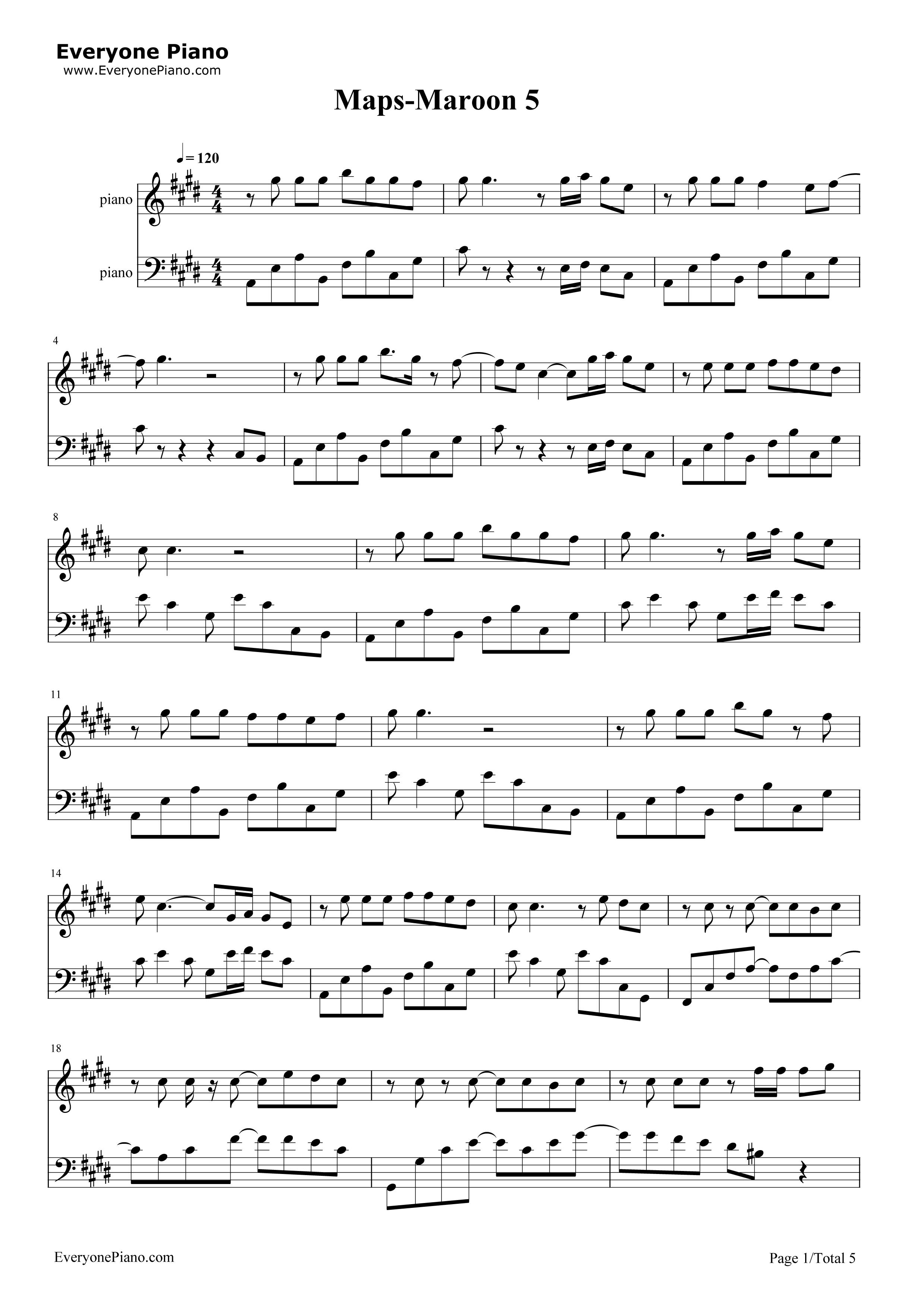 Maps Maroon 5 New Song Free Piano Sheet Music Piano Chords