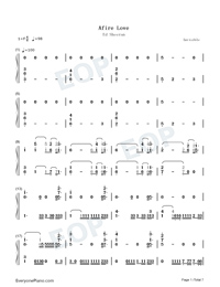 Afire Love-Ed Sheeran-Numbered-Musical-Notation-Preview-1