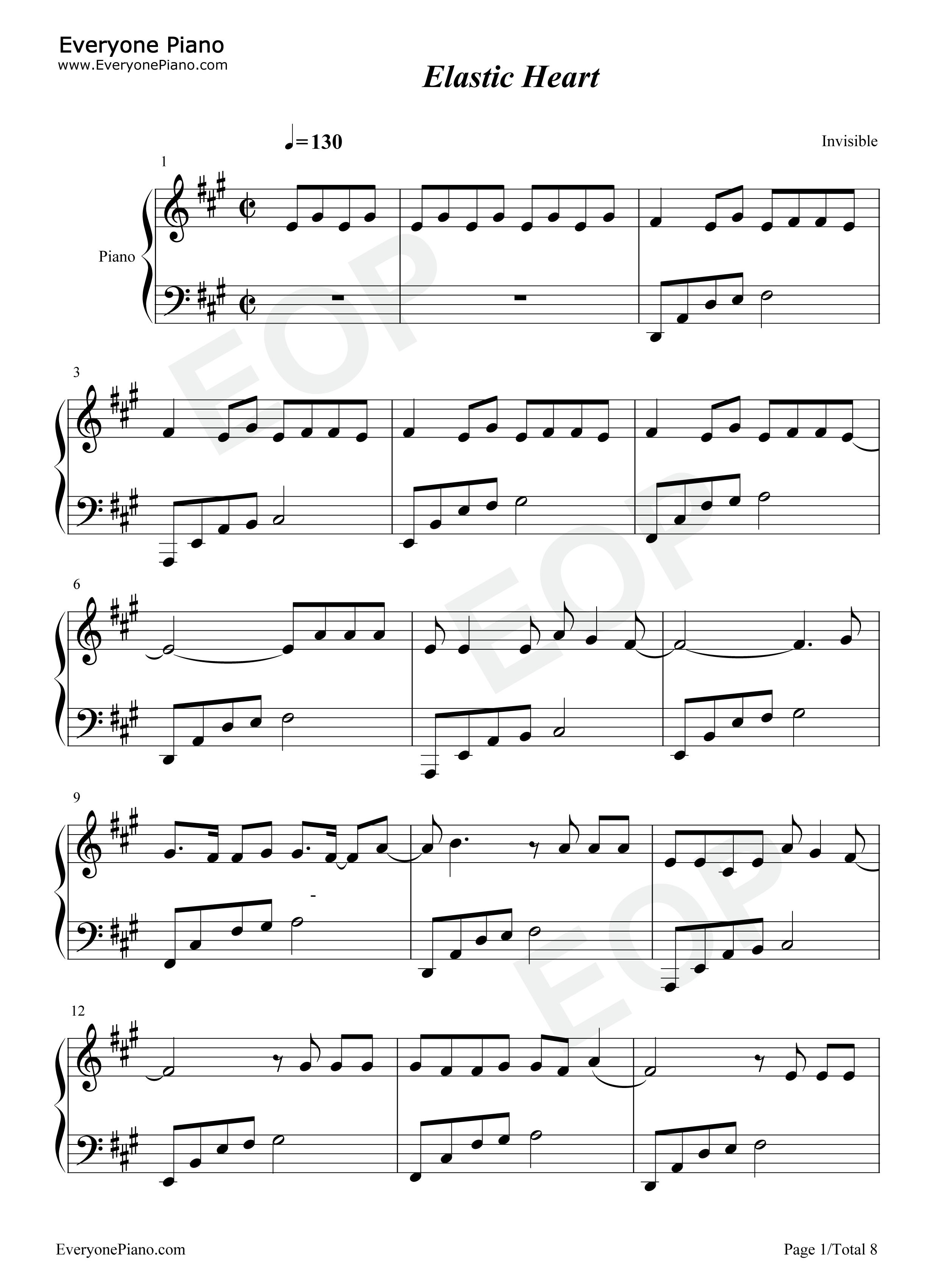 Elastic Heart Sheet Music Sia