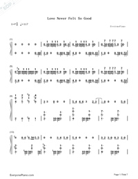 Love Never Felt So Good-Michael Jackson Numbered Musical Notation Preview 1