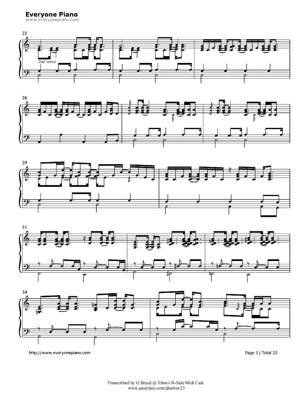 Tiny dancer elton john stave preview 3 free piano sheet music listen now print sheet tiny dancer elton john stave preview 3 hexwebz Images