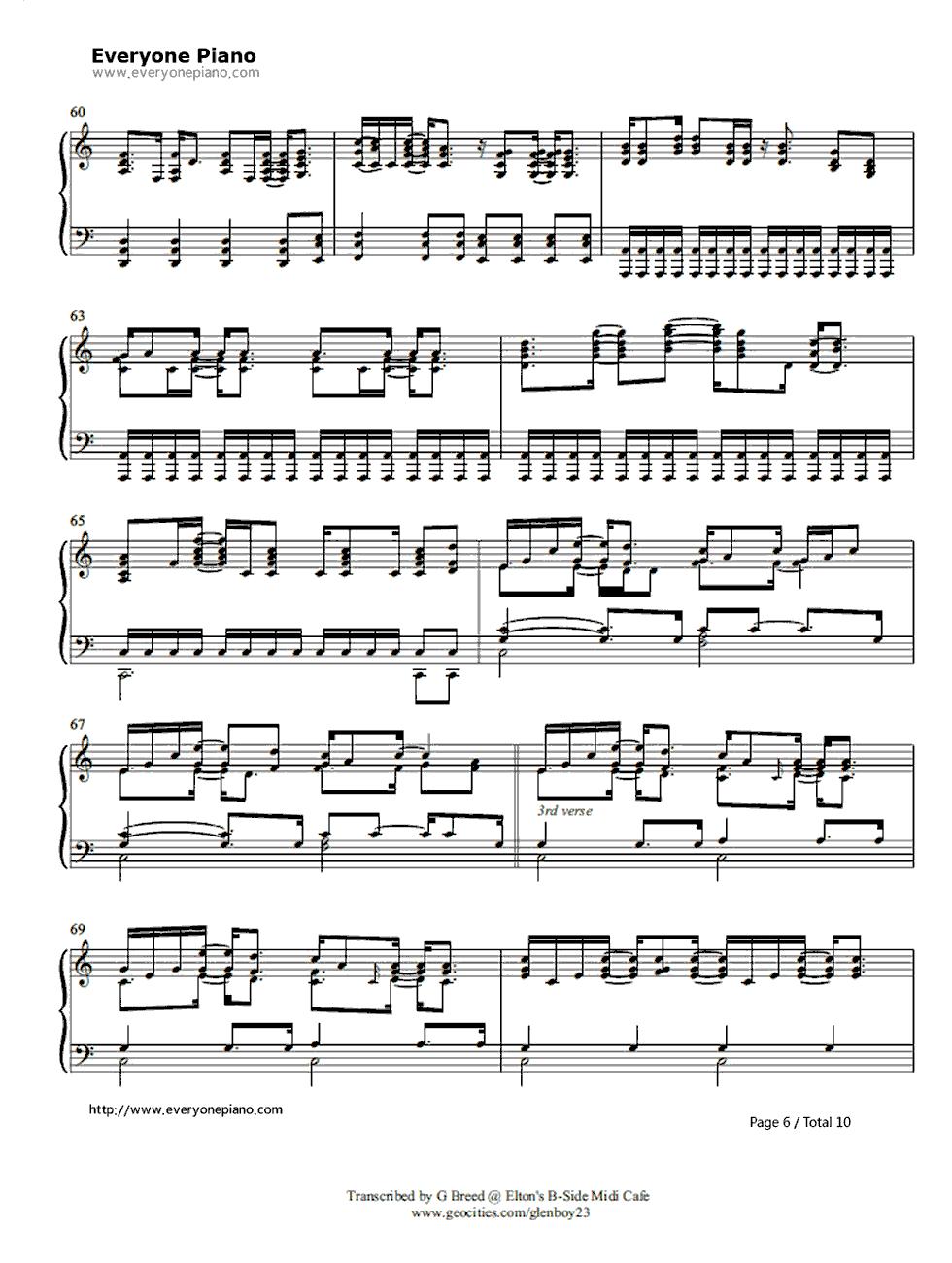Tiny dancer elton john stave preview 6 free piano sheet music listen now print sheet tiny dancer elton john stave preview 6 hexwebz Images