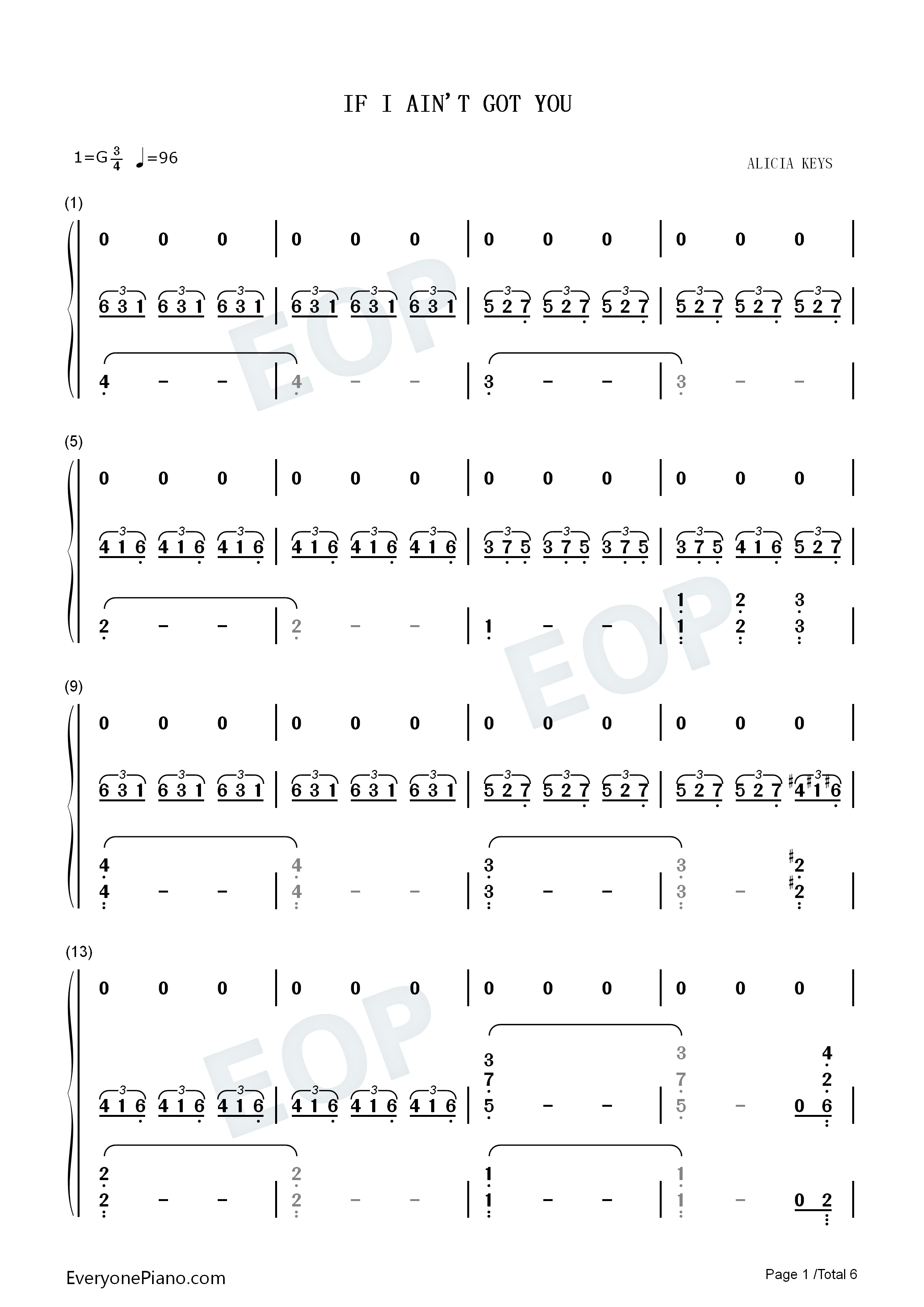Alicia Keys If I Ain T Got You Audio Download if i ain't got you-alicia keys numbered musical notation preview