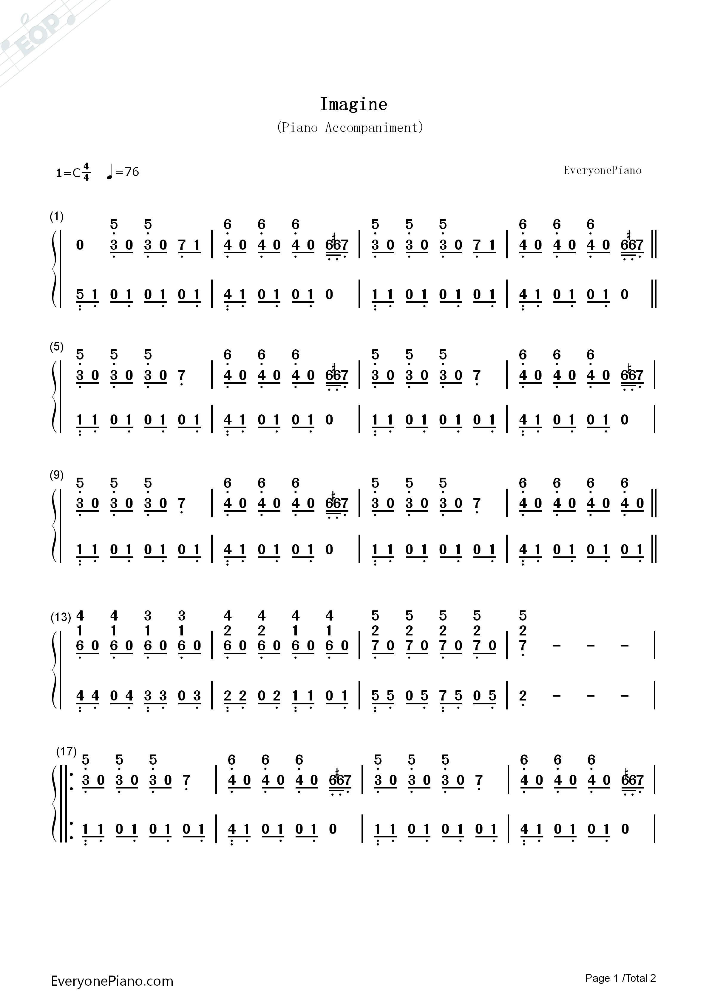 Imagine john lennon numbered musical notation preview 1 free listen now print sheet imagine john lennon numbered musical notation preview 1 hexwebz Gallery