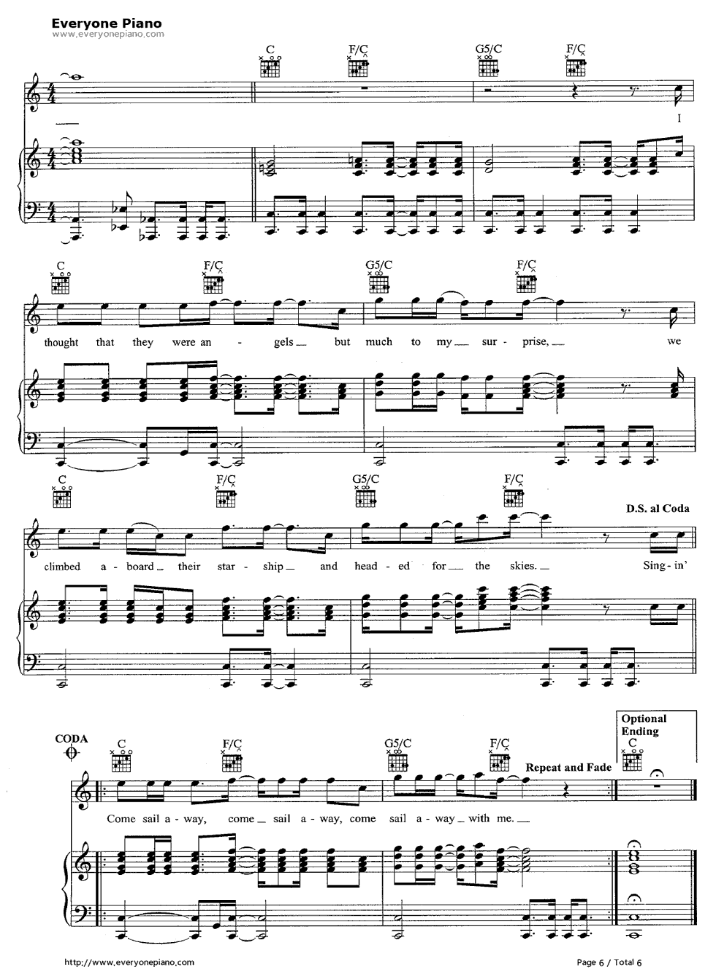 Come Sail Away Styx Free Piano Sheet Music Piano Chords