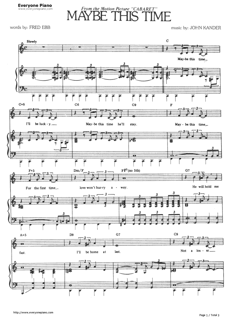 Maybe This Time-Cabaret OST Stave Preview 1-Free Piano Sheet Music u0026 Piano Chords
