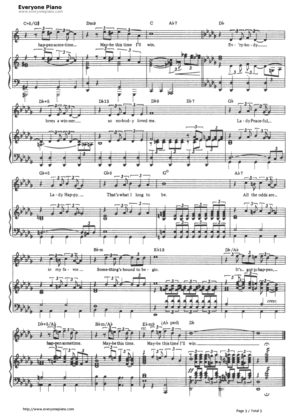 Maybe This Time-Cabaret OST Stave Preview 3-Free Piano Sheet Music u0026 Piano Chords