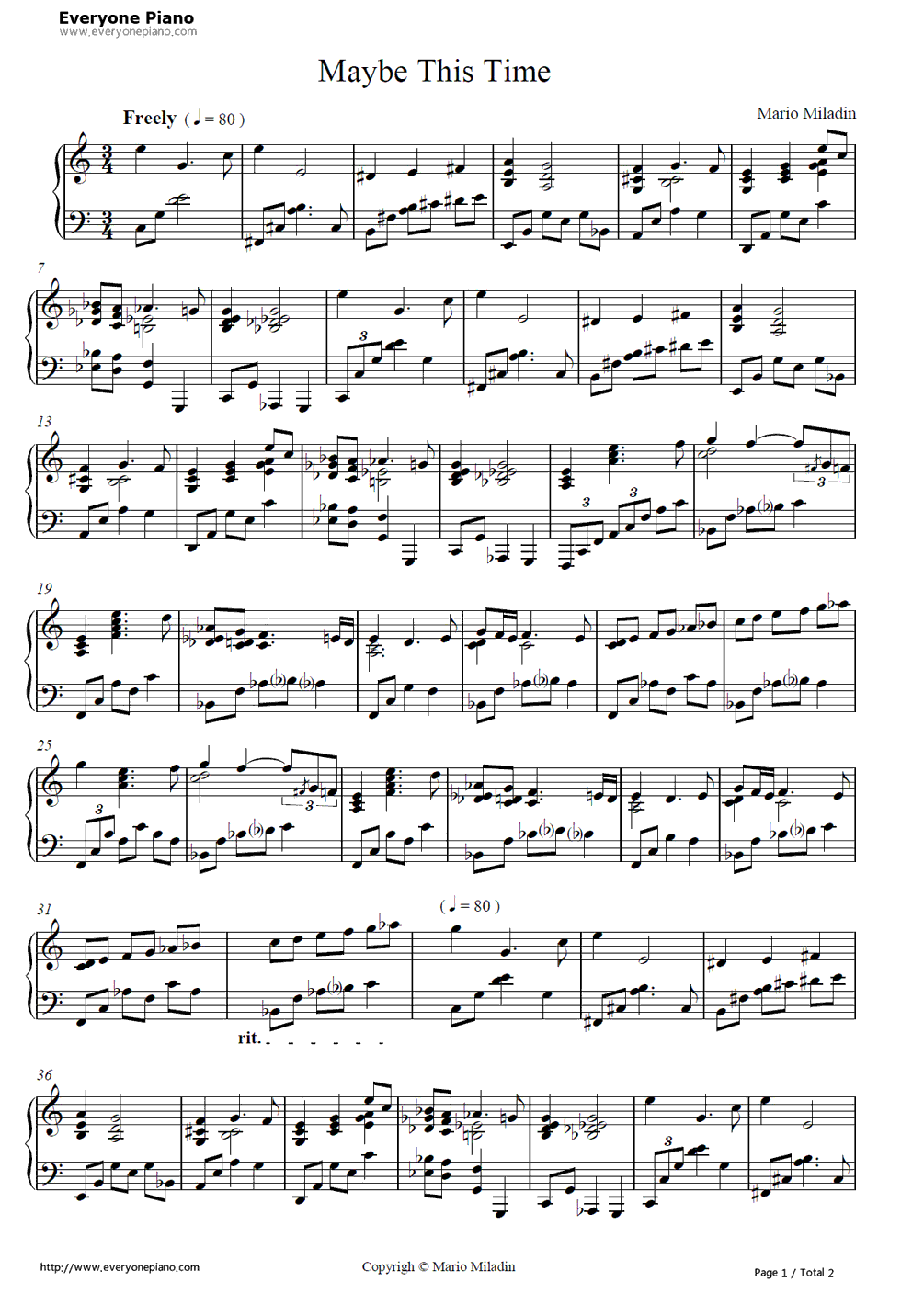 Maybe This Time-Mario Miladin Stave Preview 1-Free Piano Sheet Music u0026 Piano Chords