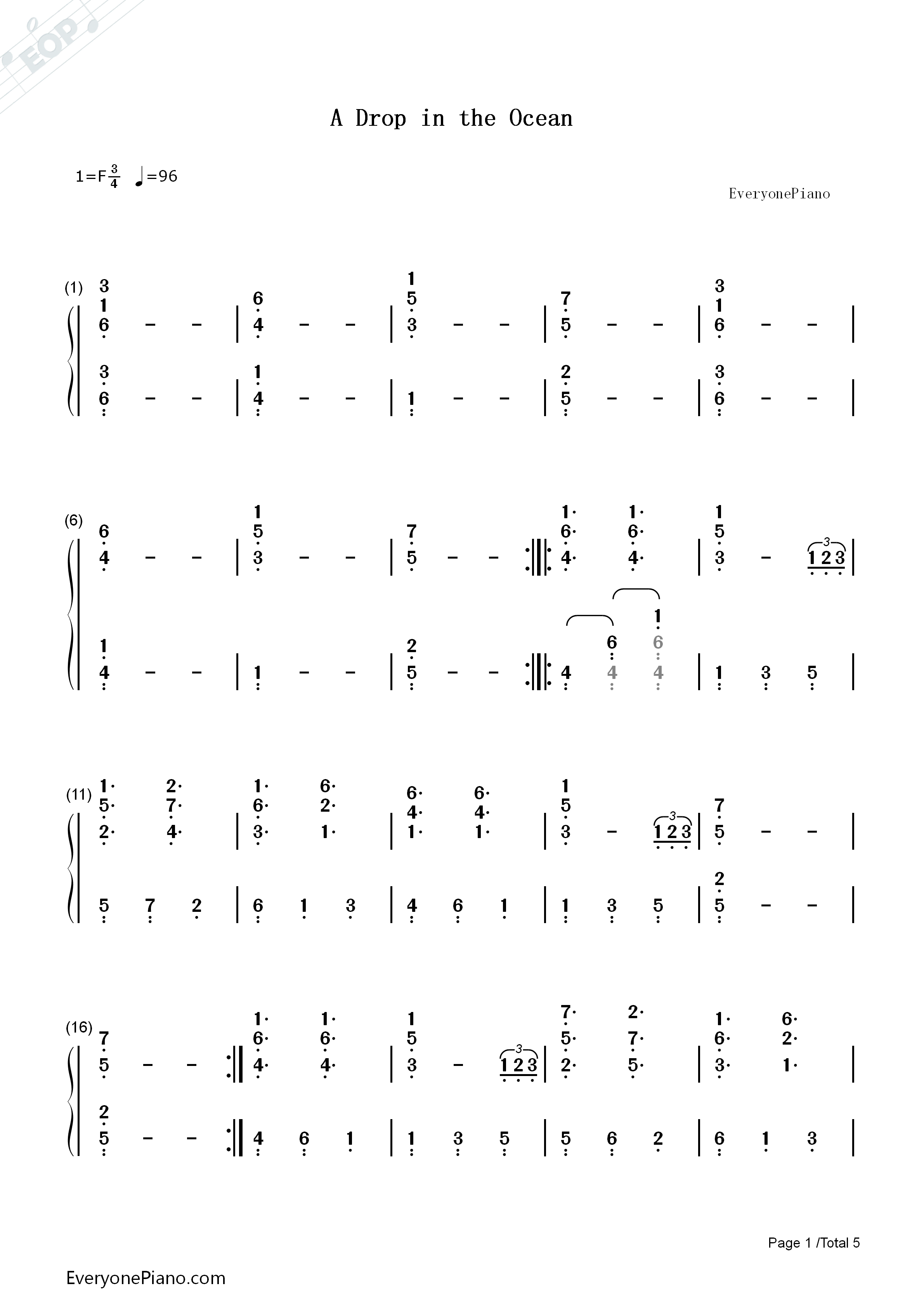 A drop in the ocean ron pope numbered musical notation preview 1 listen now print sheet a drop in the ocean ron pope numbered musical notation preview 1 hexwebz Image collections
