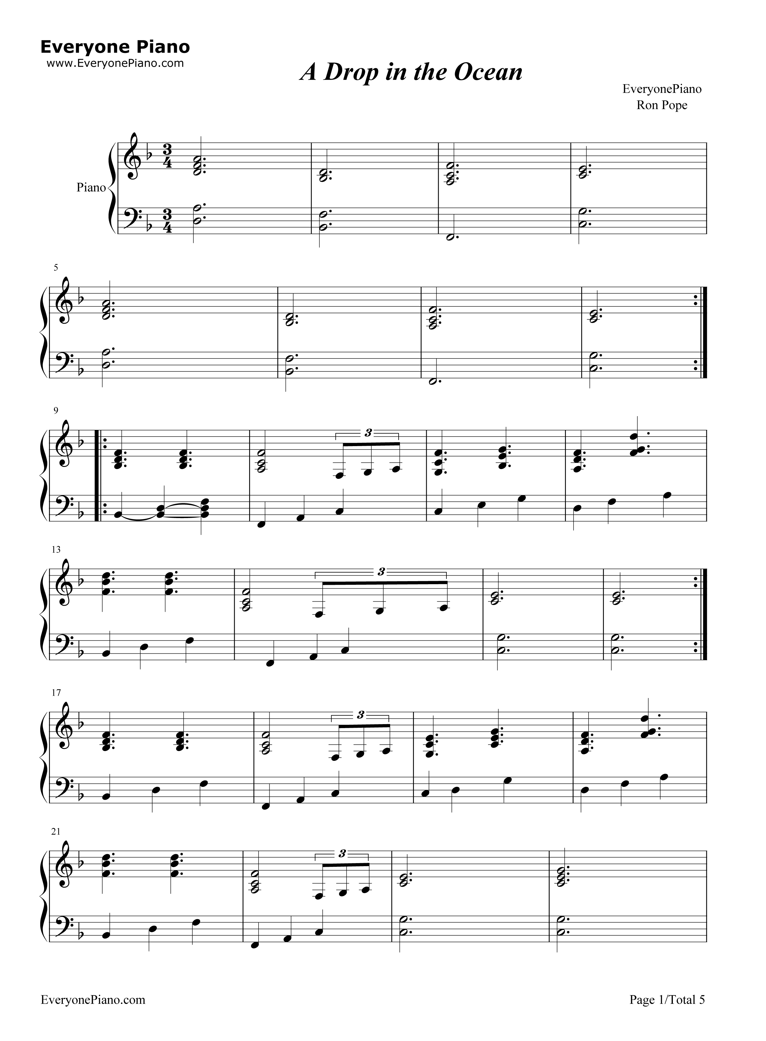 A drop in the ocean ron pope stave preview 1 free piano sheet listen now print sheet a drop in the ocean ron pope stave preview 1 hexwebz Image collections