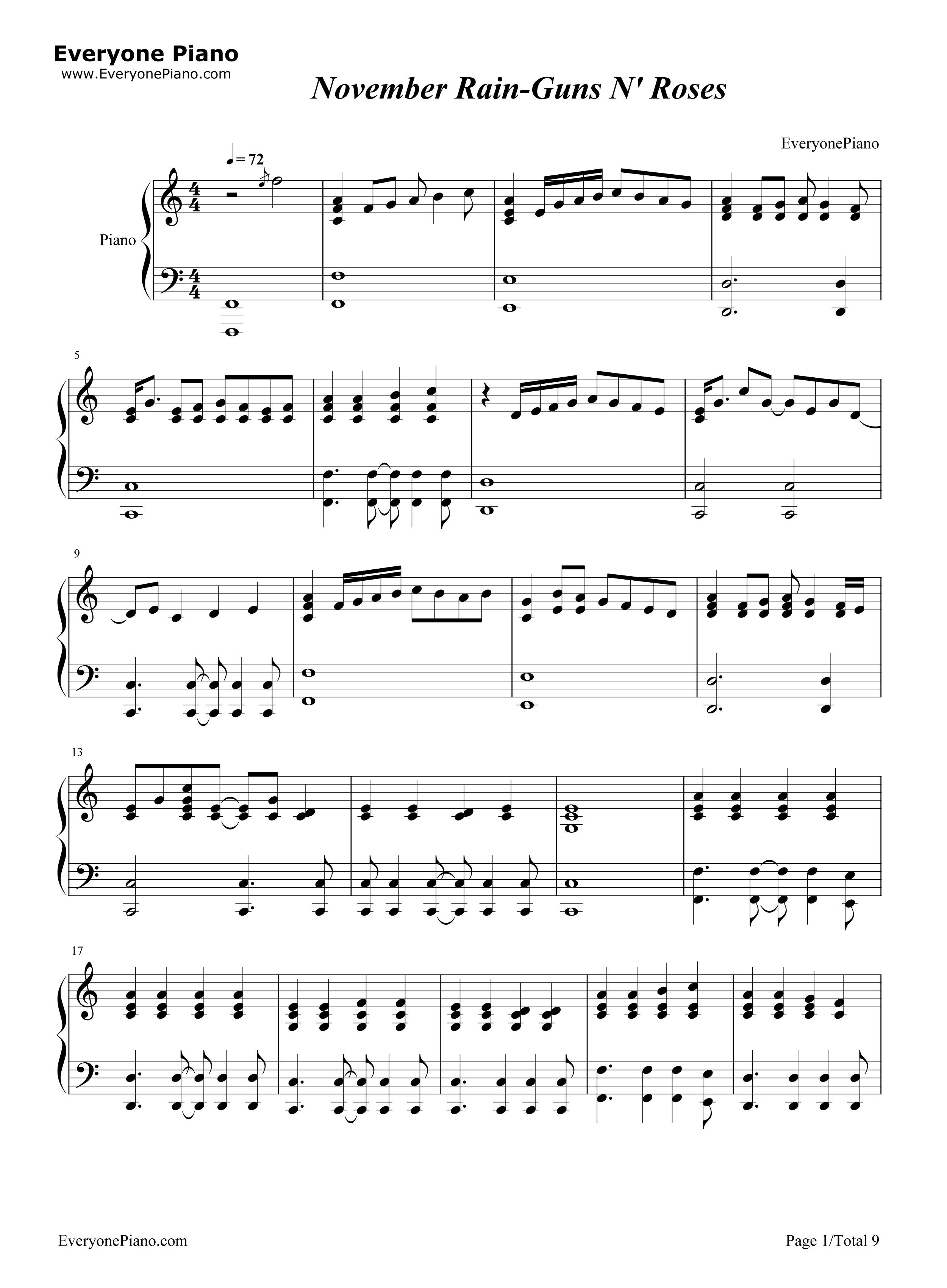 November Rain-Guns Nu0026#39; Roses Stave Preview 1-Free Piano Sheet Music u0026 Piano Chords