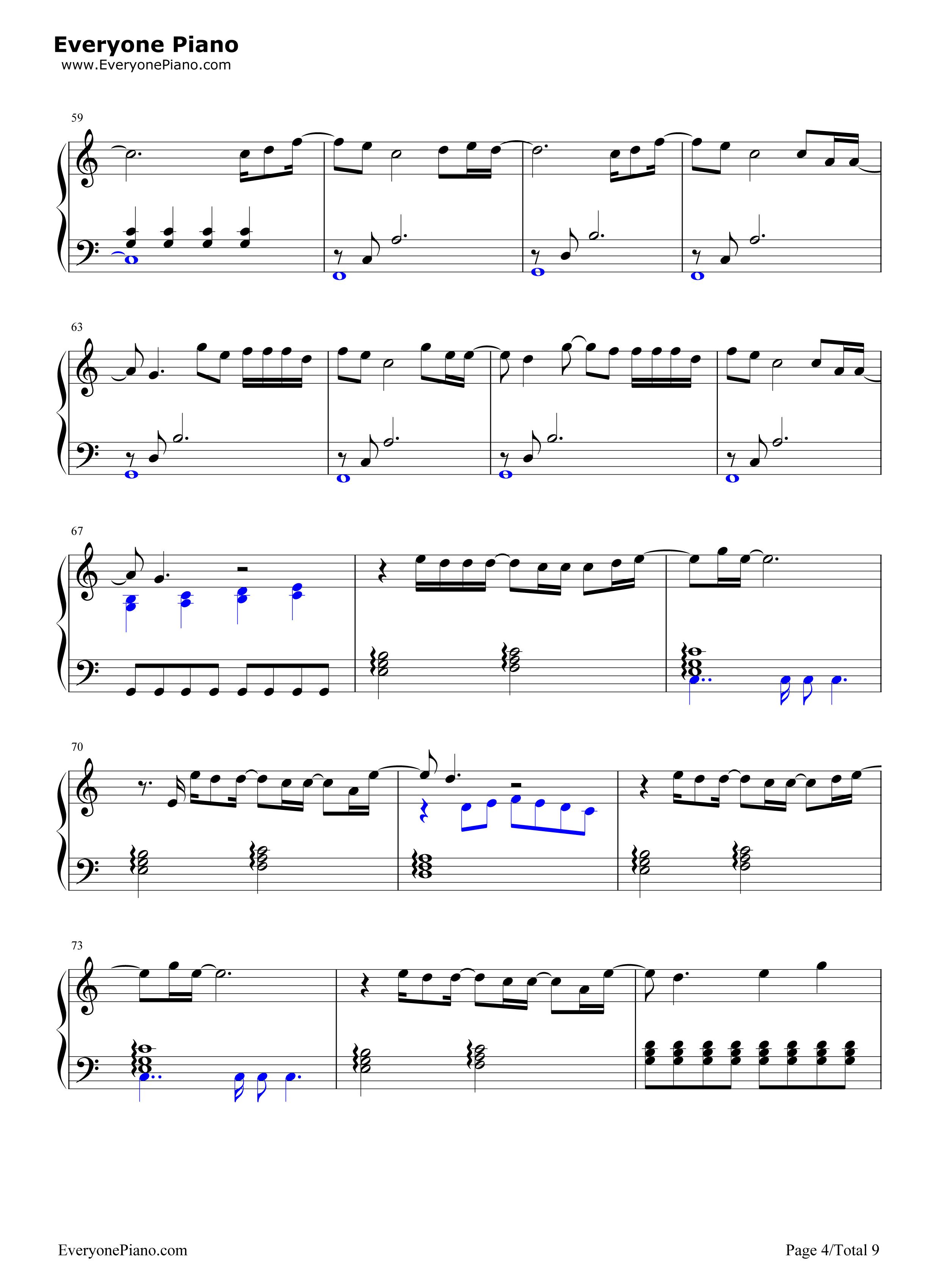 November Rain-Guns Nu0026#39; Roses Stave Preview 4-Free Piano Sheet Music u0026 Piano Chords