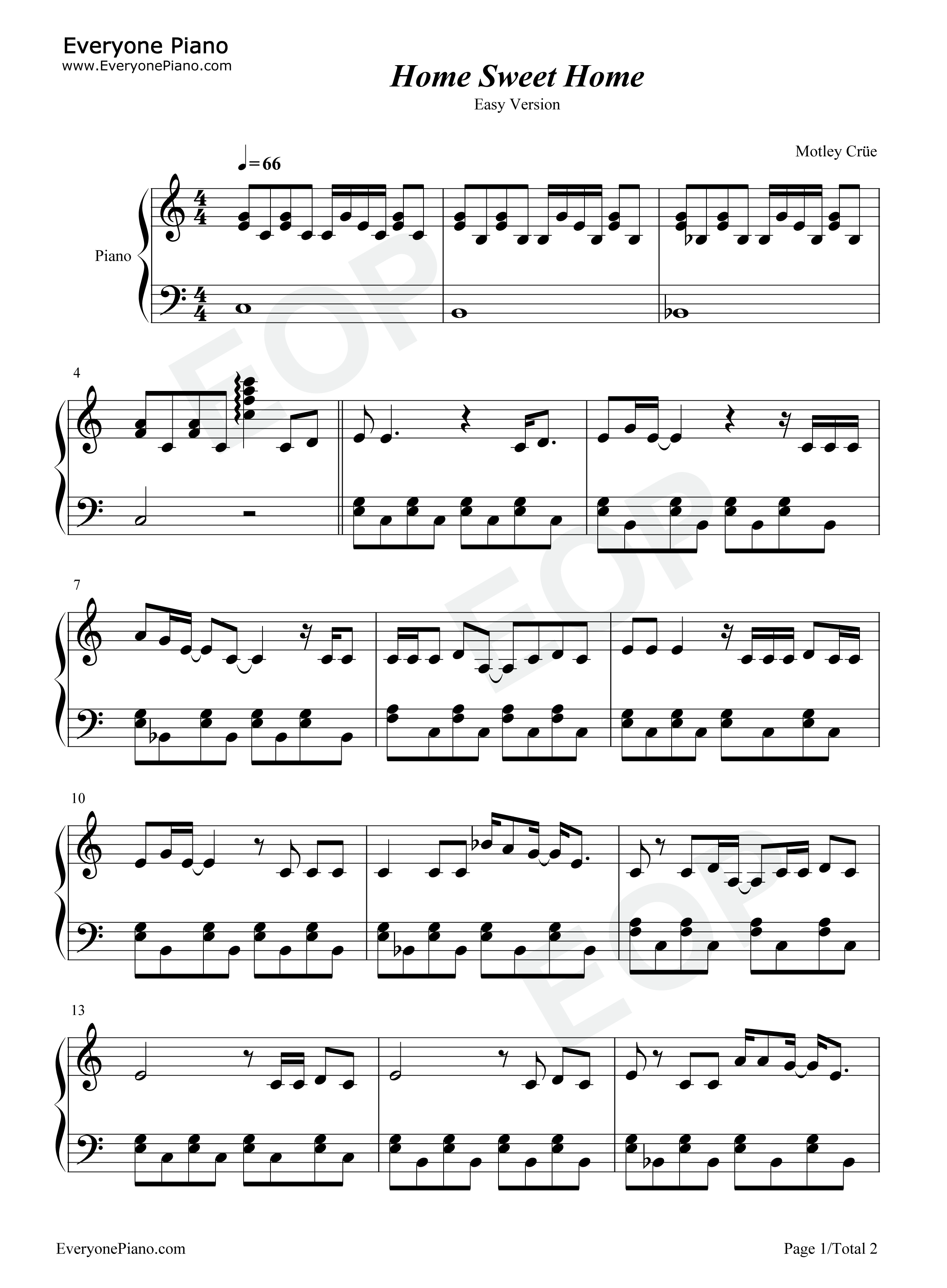 Home Sweet Home Sheet Music Piano Carnavalsmusic