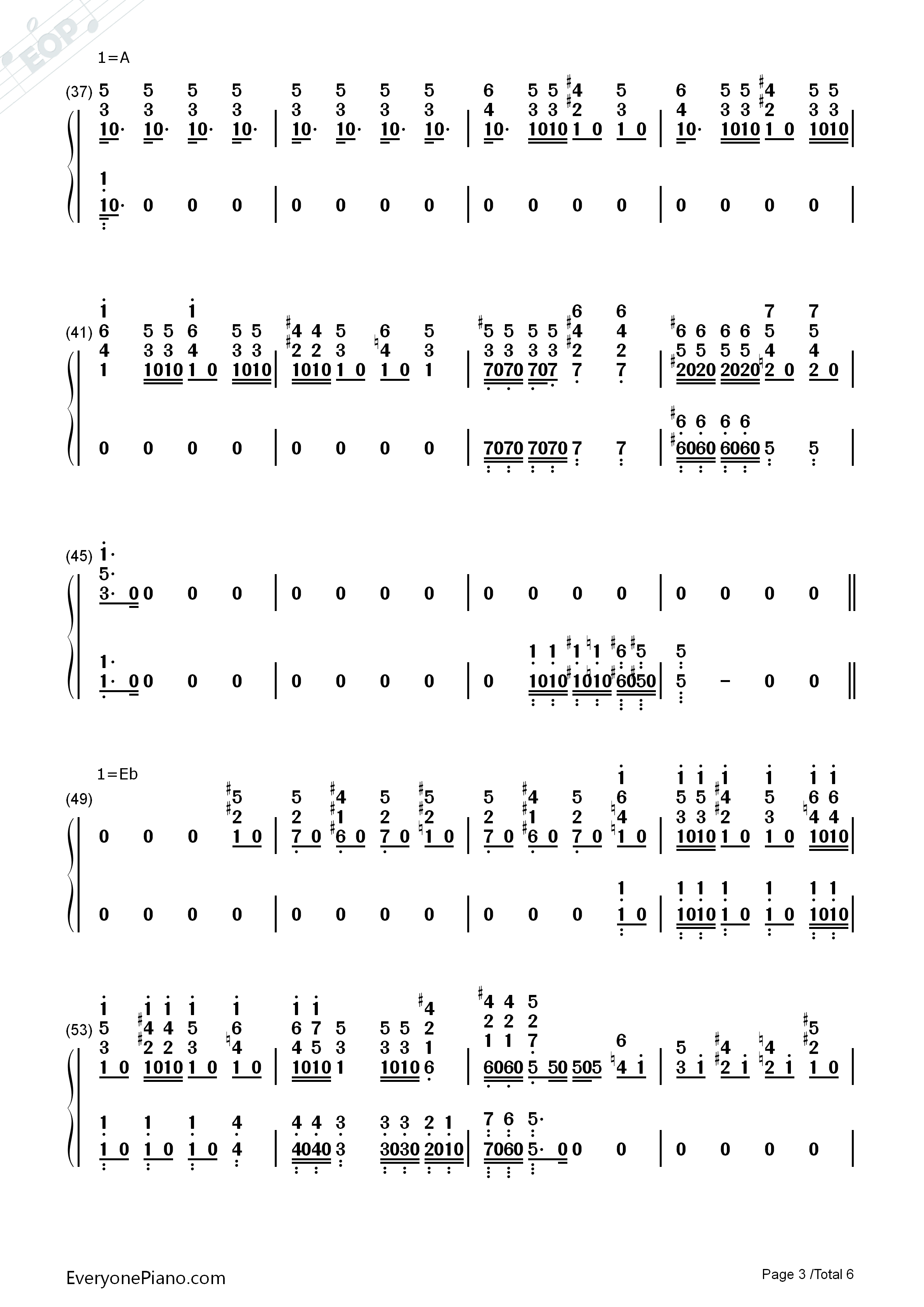 Bohemian Rhapsody-Queen Numbered Musical Notation Preview 3
