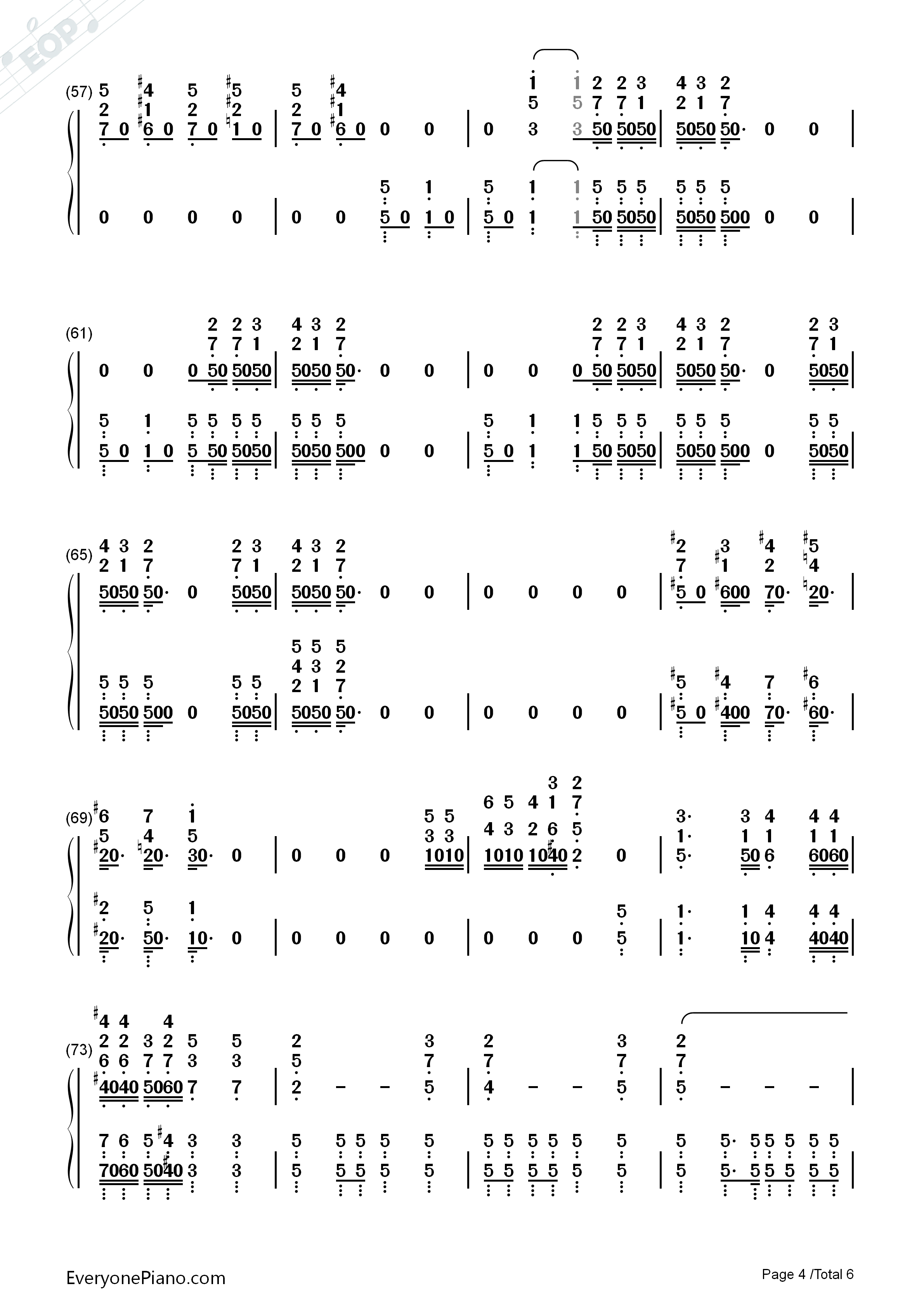 Bohemian Rhapsody-Queen Numbered Musical Notation Preview 4