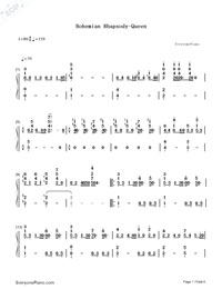 Bohemian Rhapsody-Queen Numbered Musical Notation Preview 1