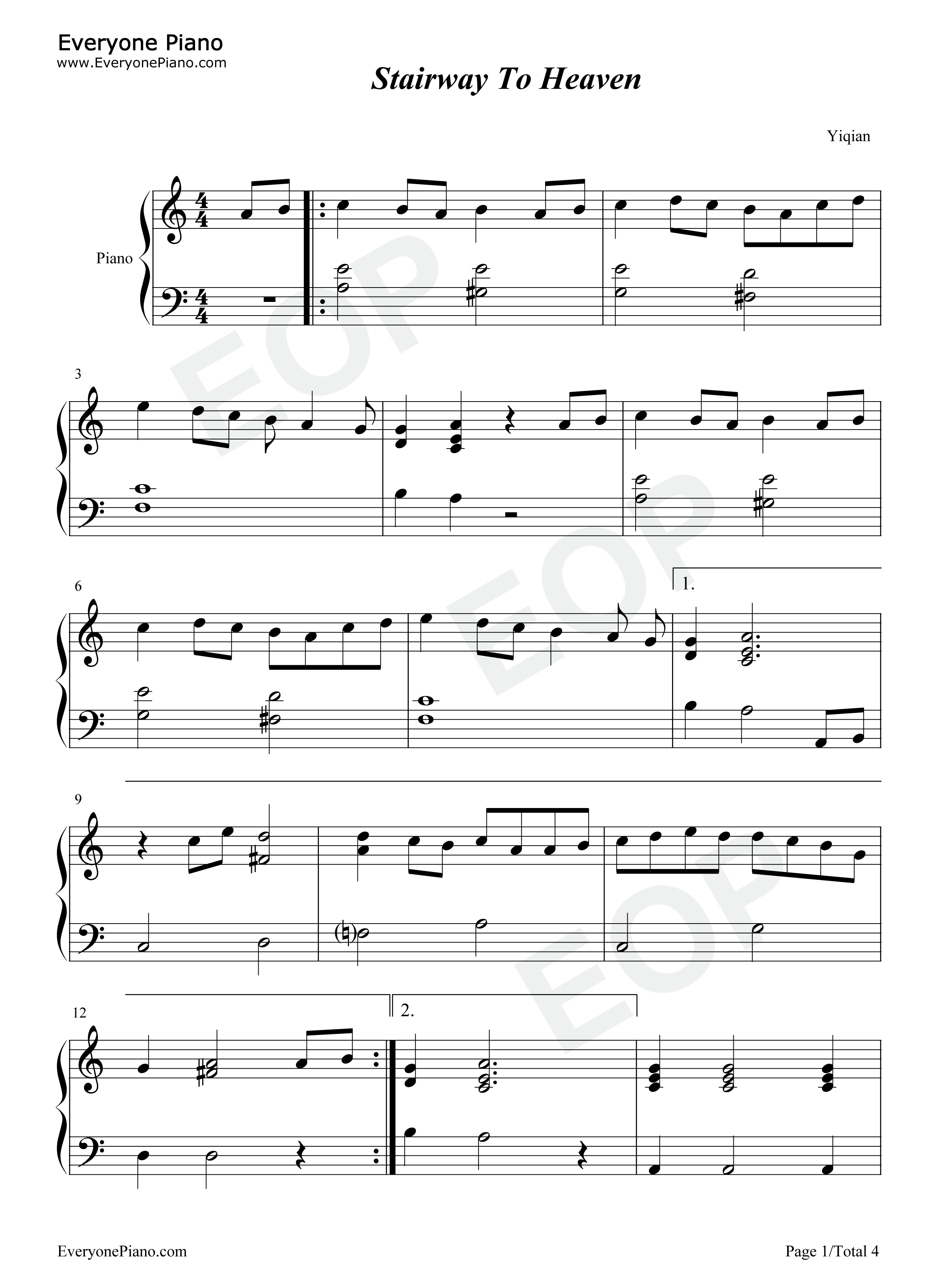 stairway to heaven sheet music free pdf