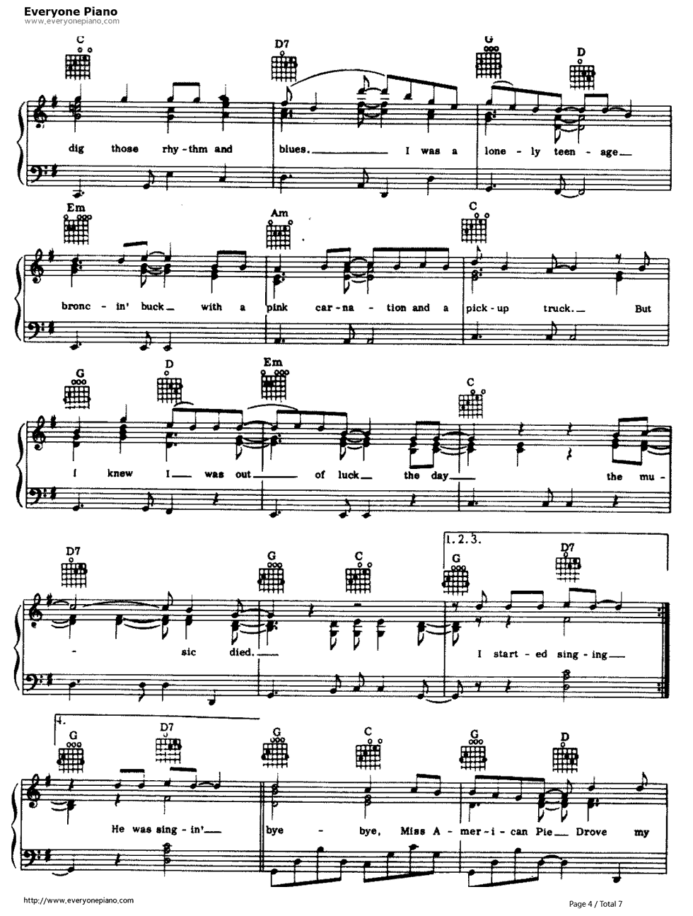 American pie don mclean stave preview 4 free piano sheet music listen now print sheet american pie don mclean stave preview 4 hexwebz Gallery