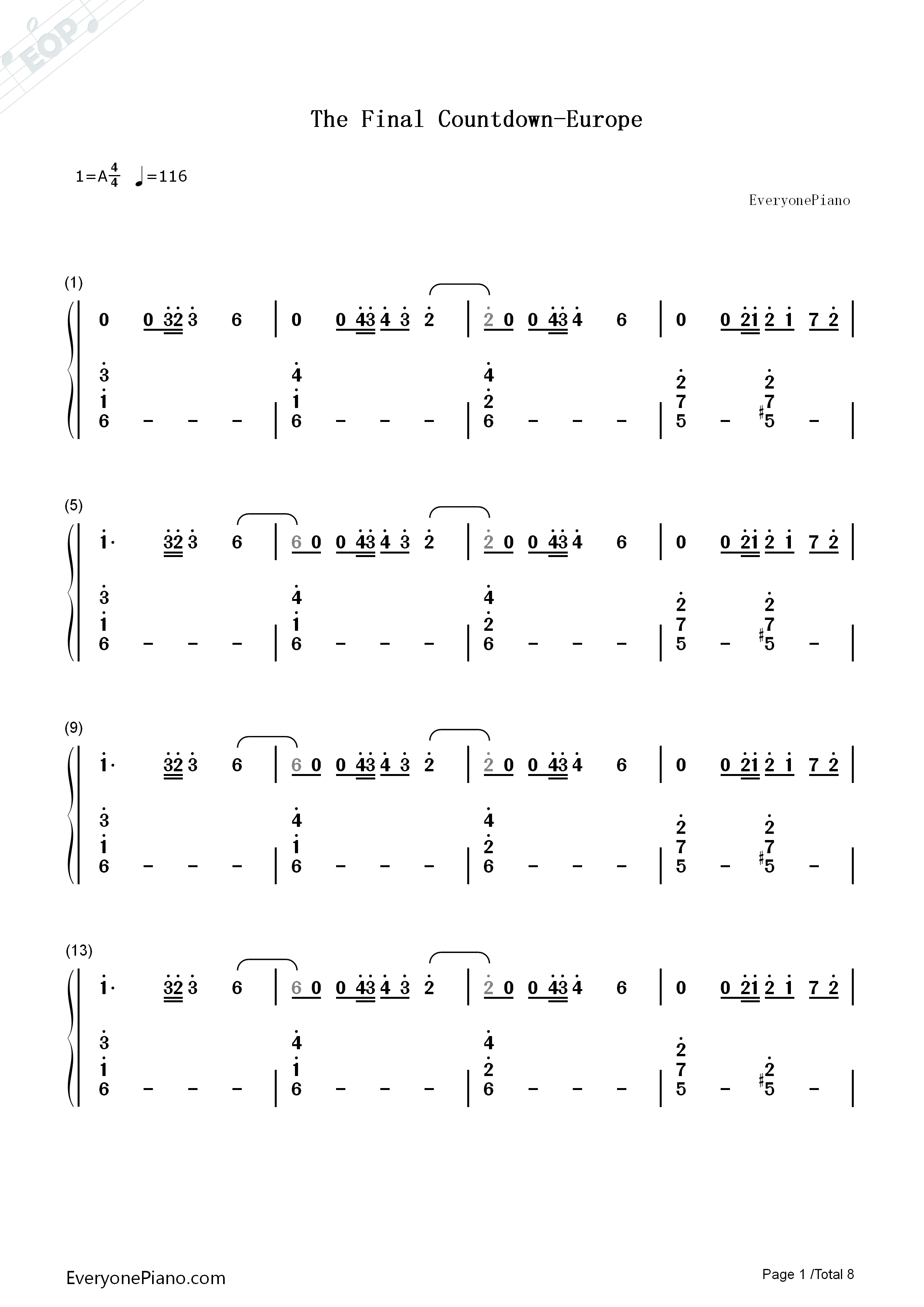 The final countdown europe numbered musical notation preview 1 listen now print sheet the final countdown europe numbered musical notation preview 1 hexwebz Gallery