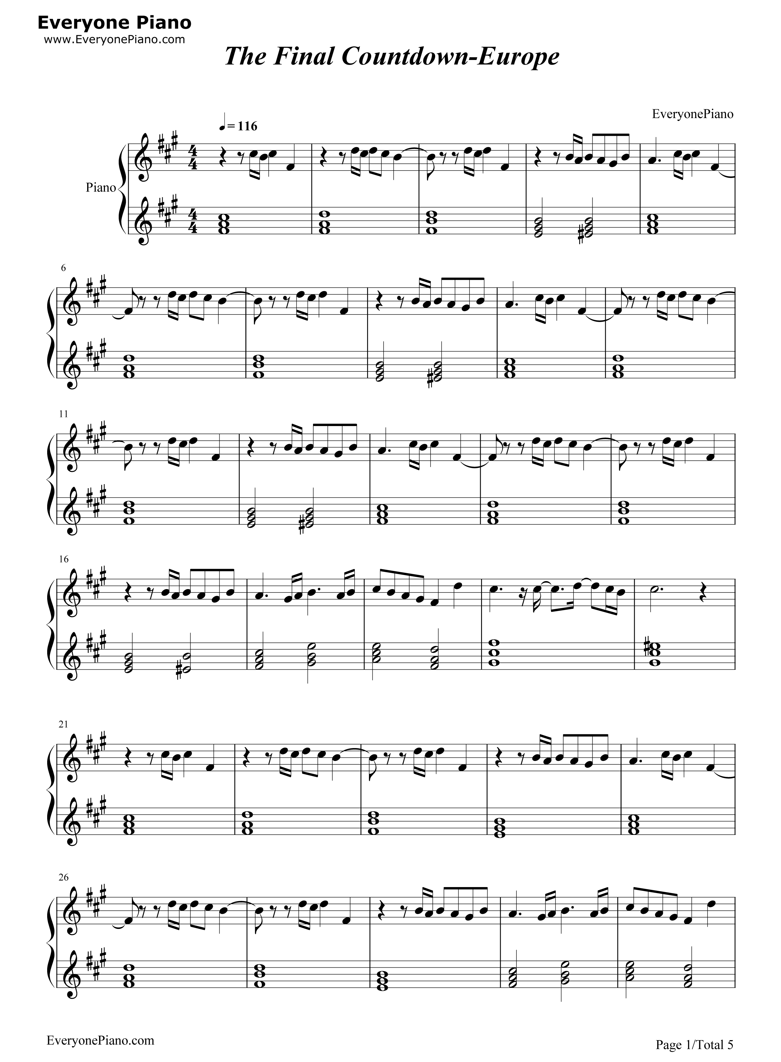 The final countdown europe stave preview 1 free piano sheet music listen now print sheet the final countdown europe stave preview 1 hexwebz Gallery