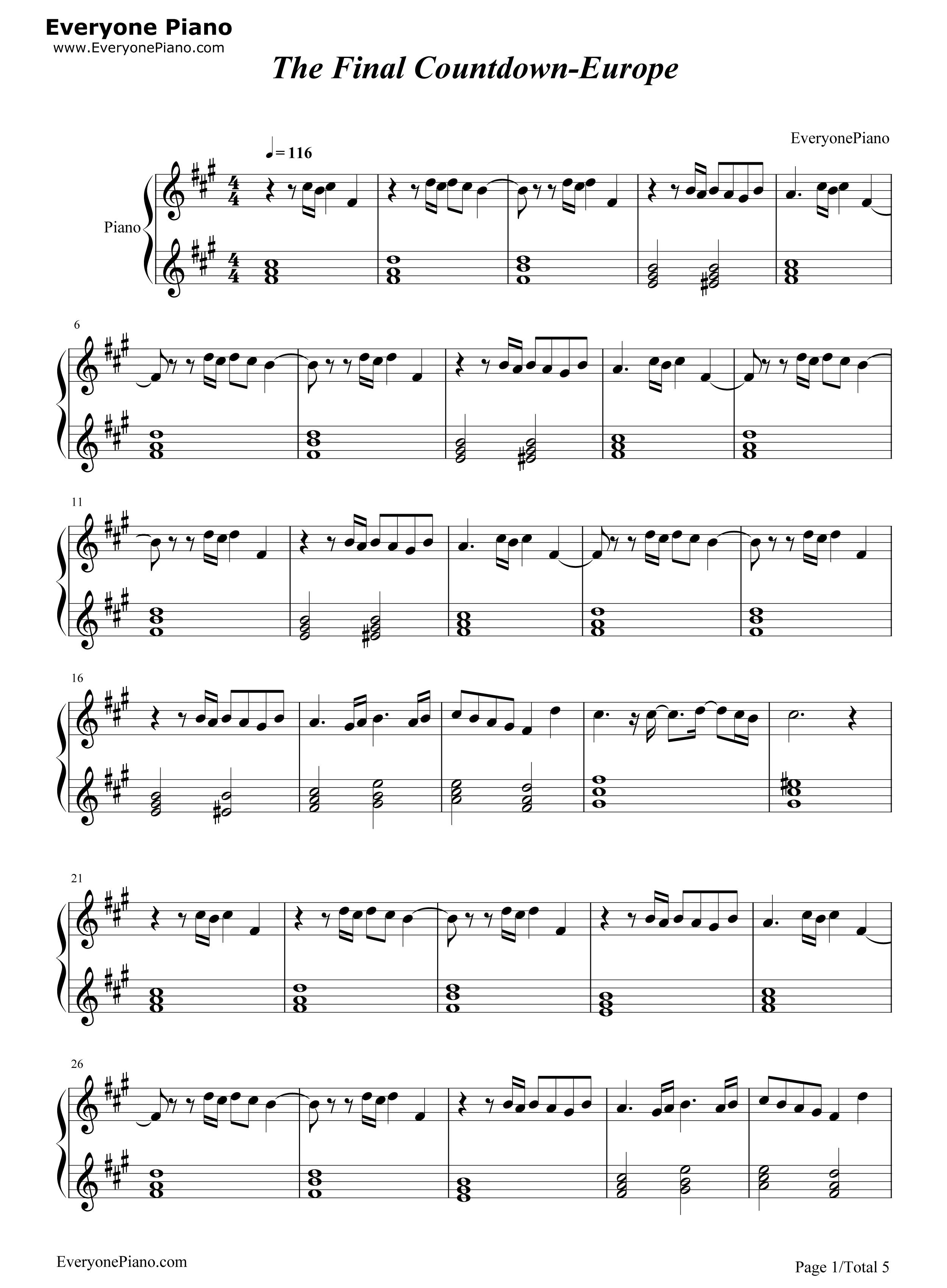 final countdown chords