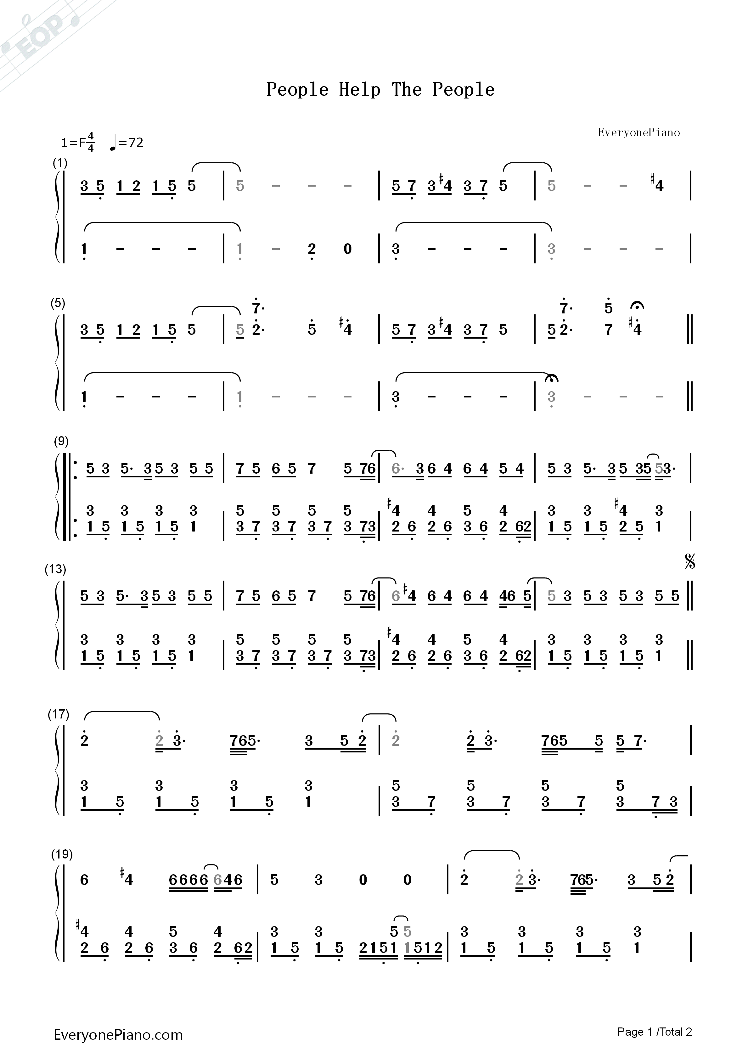 People Help the People-Birdy Numbered Musical Notation Preview