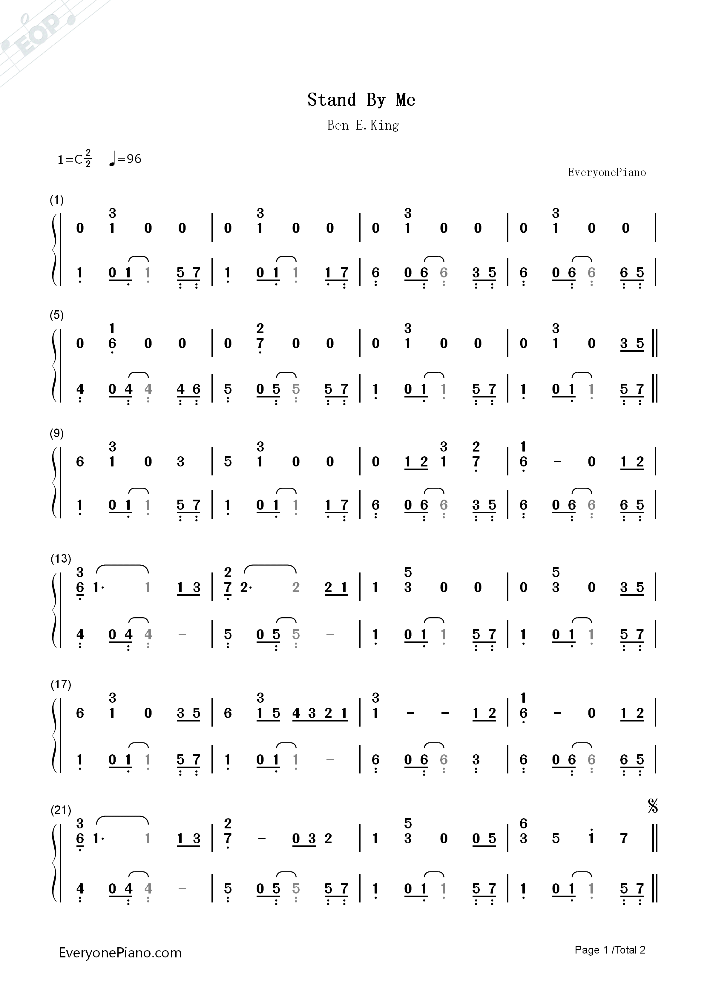 stand by me sheet music pdf