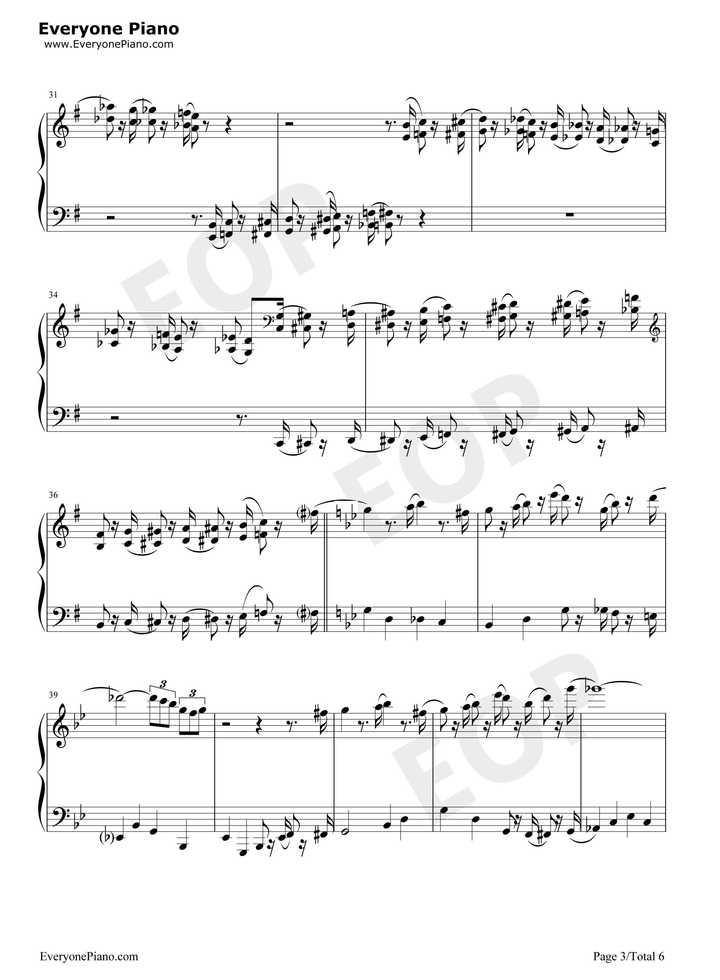 The Pink Panther Theme-The Pink Panther Stave Preview 3-Free Piano Sheet Music u0026 Piano Chords